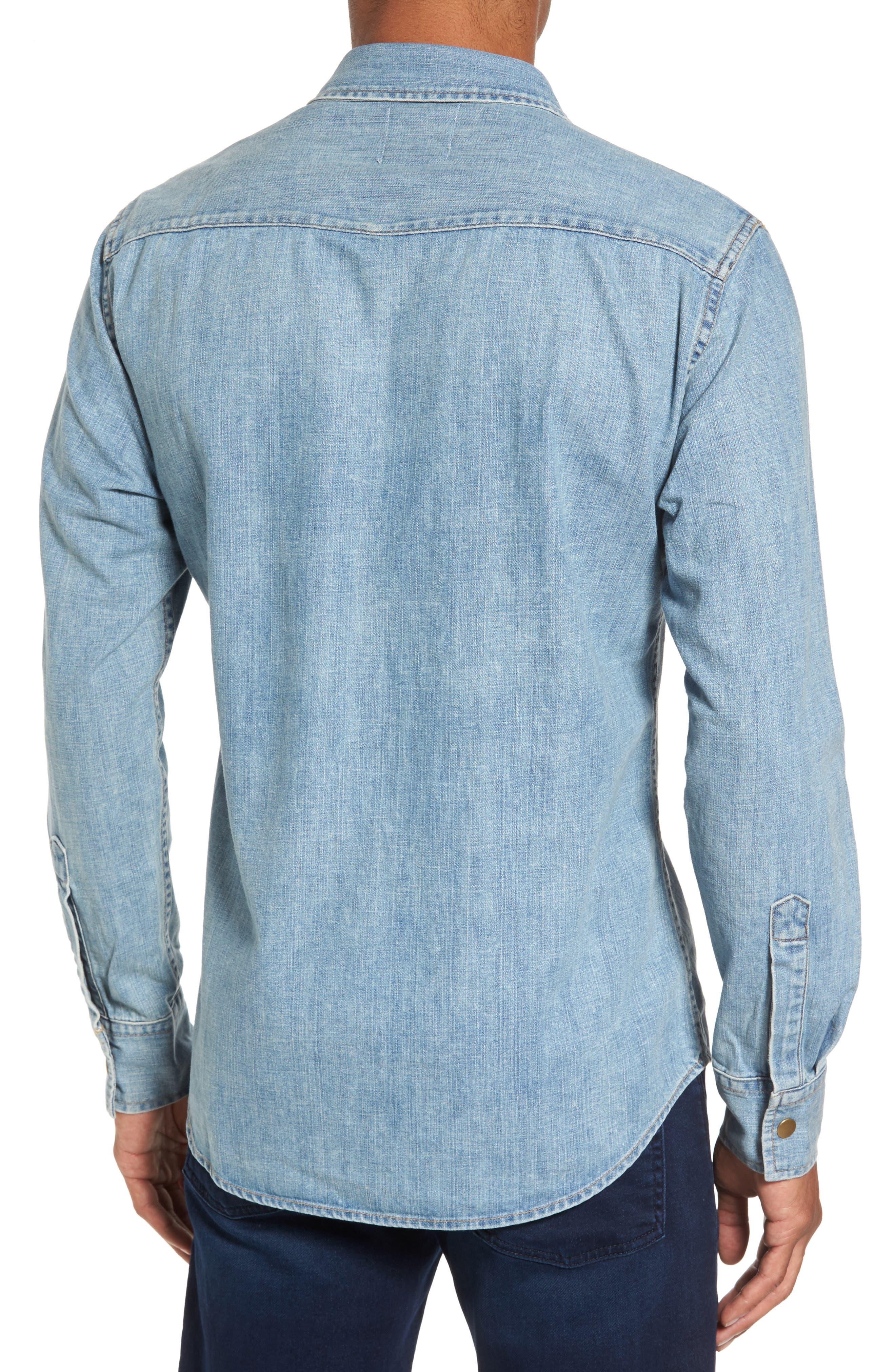Distressed Denim Western Shirt,                             Alternate thumbnail 2, color,                             Denim Wash