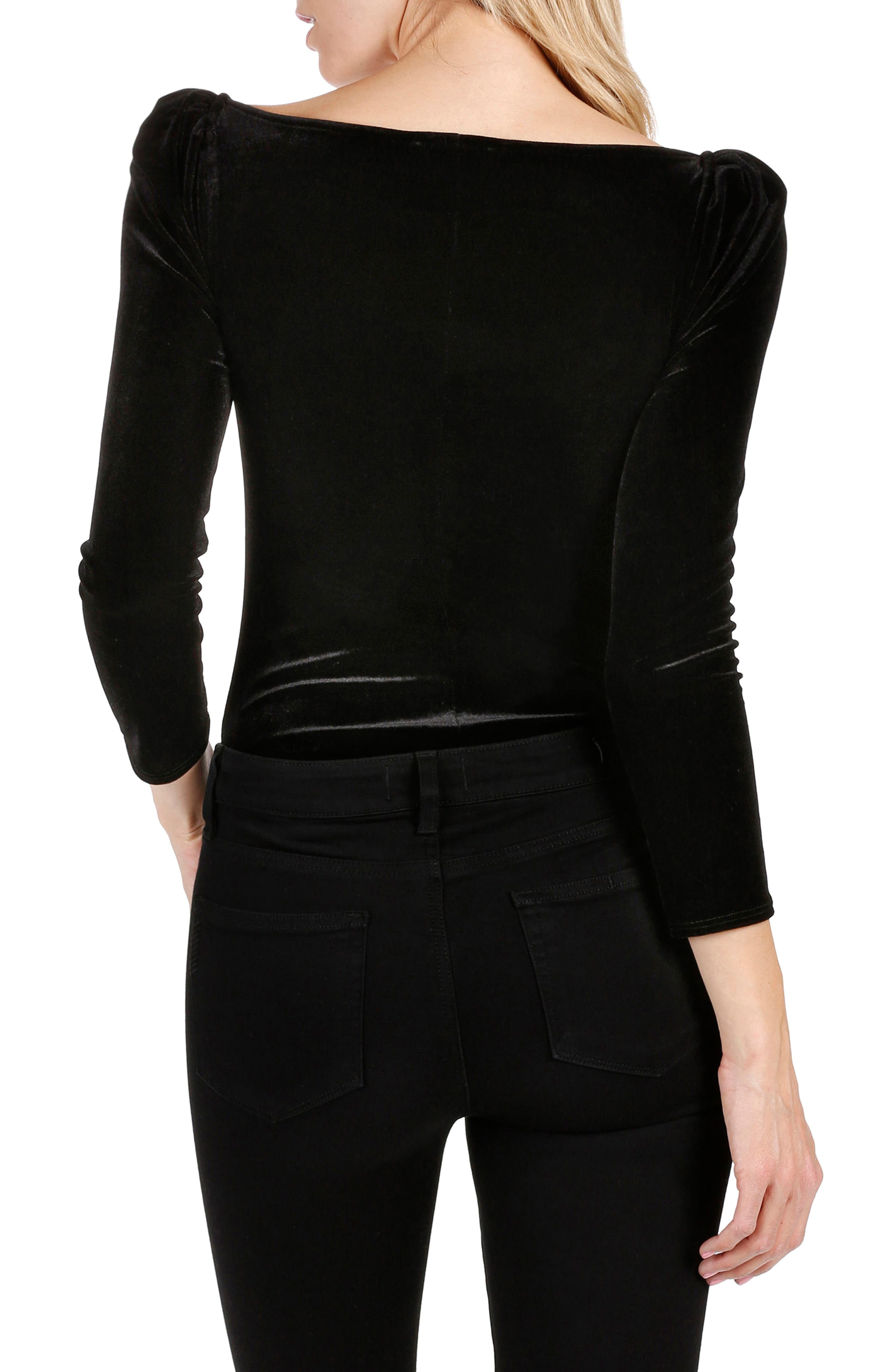 Delsie Stretch Velvet Bodysuit,                             Alternate thumbnail 2, color,                             Black