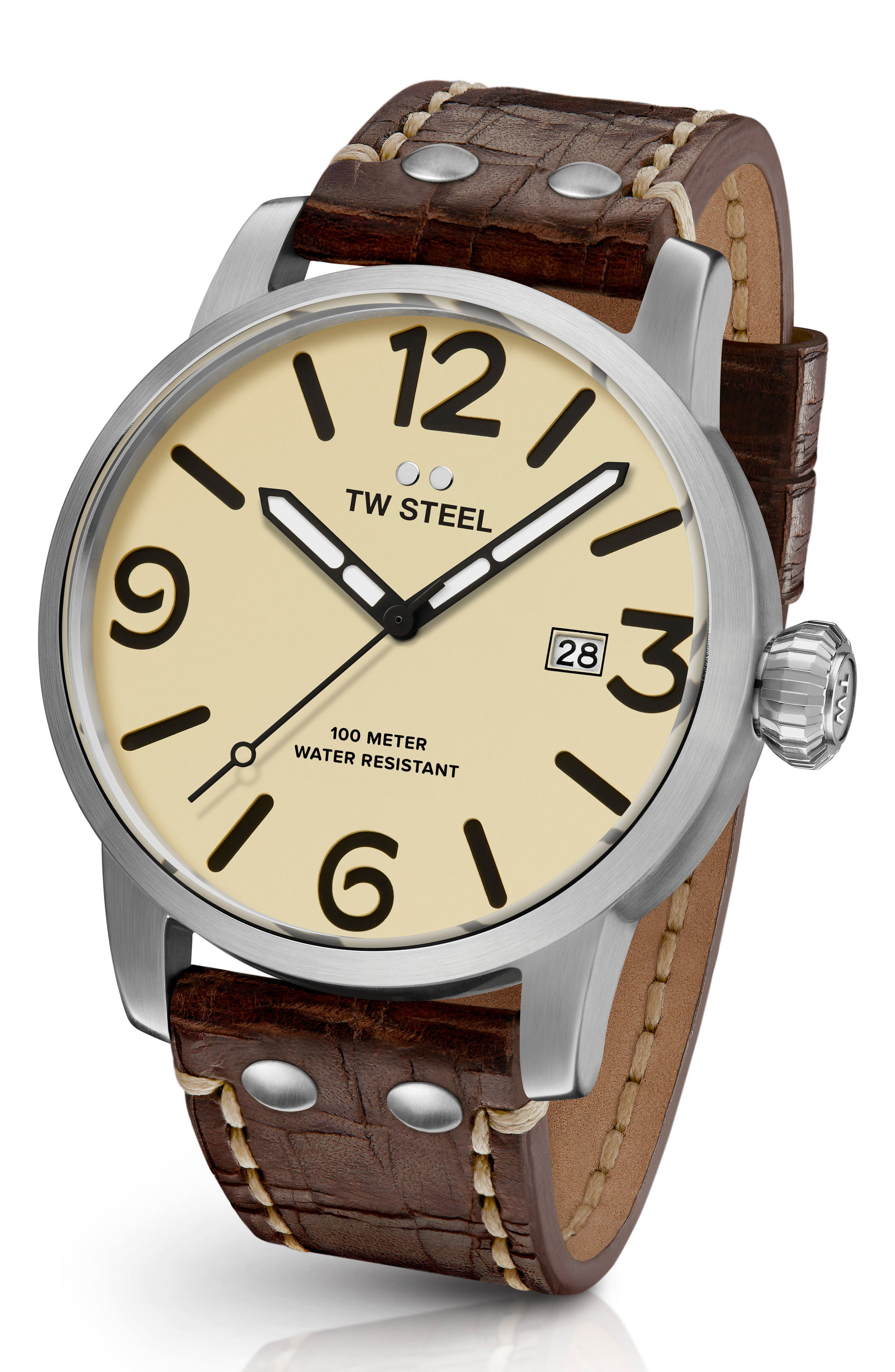 TW STEEL Maverick Automatic Leather Strap Watch, 48Mm in Chocolate/ Cream/ Silver