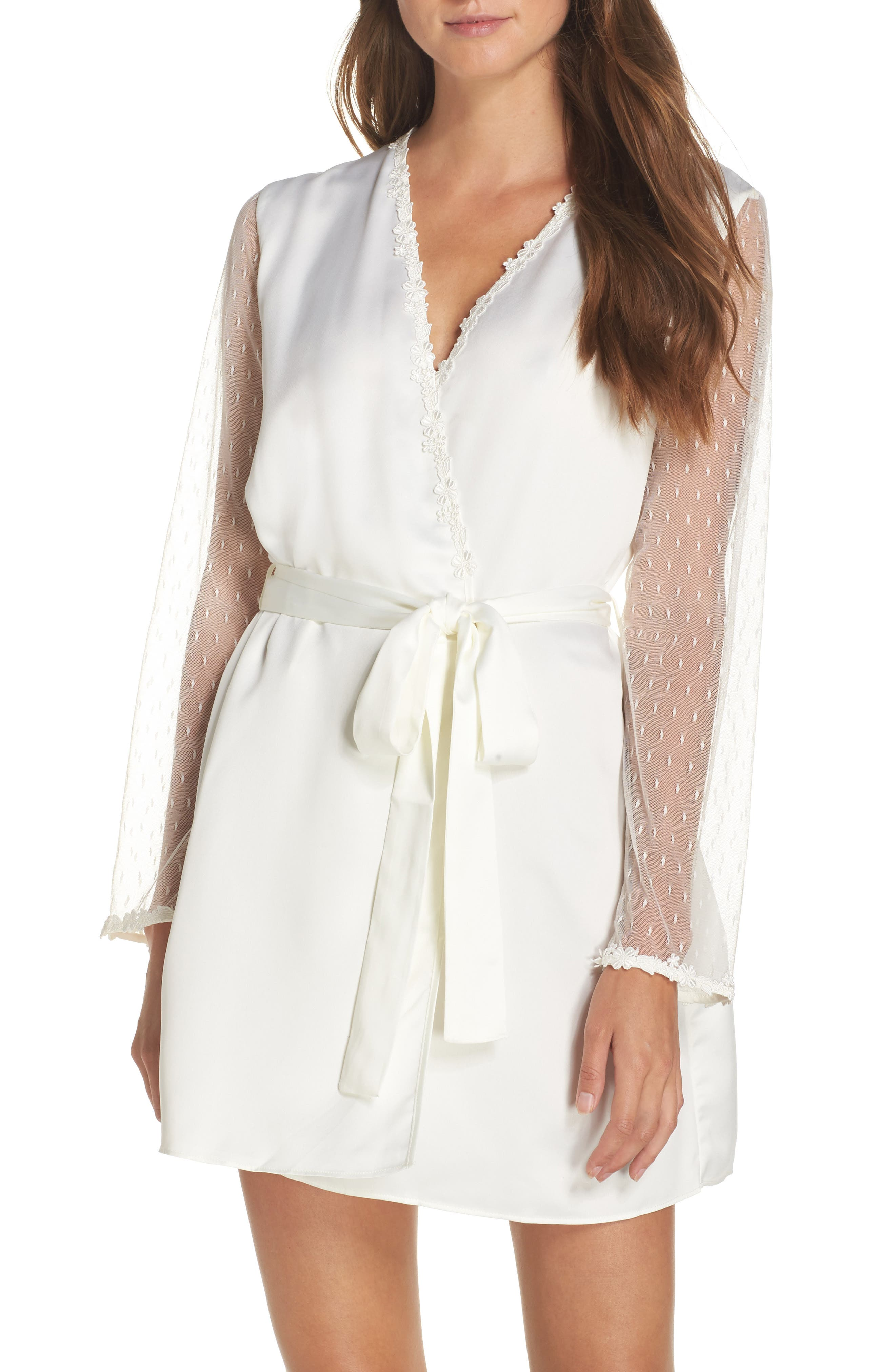 FLORA NIKROOZ Showstopper Charmeuse Cover-Up Robe in Ivory