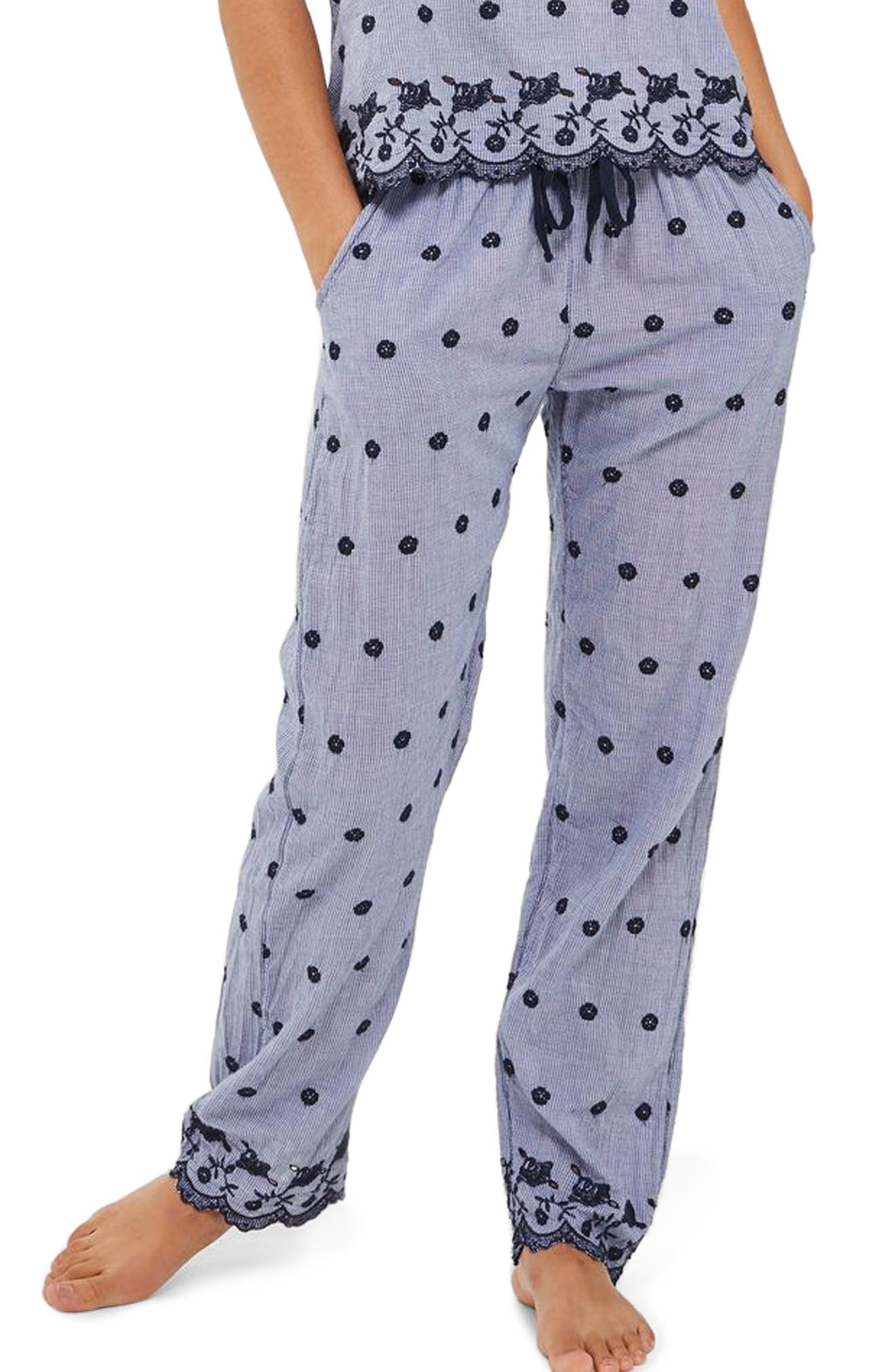 Embroidered Gingham Pajama Pants,                         Main,                         color, Navy Blue
