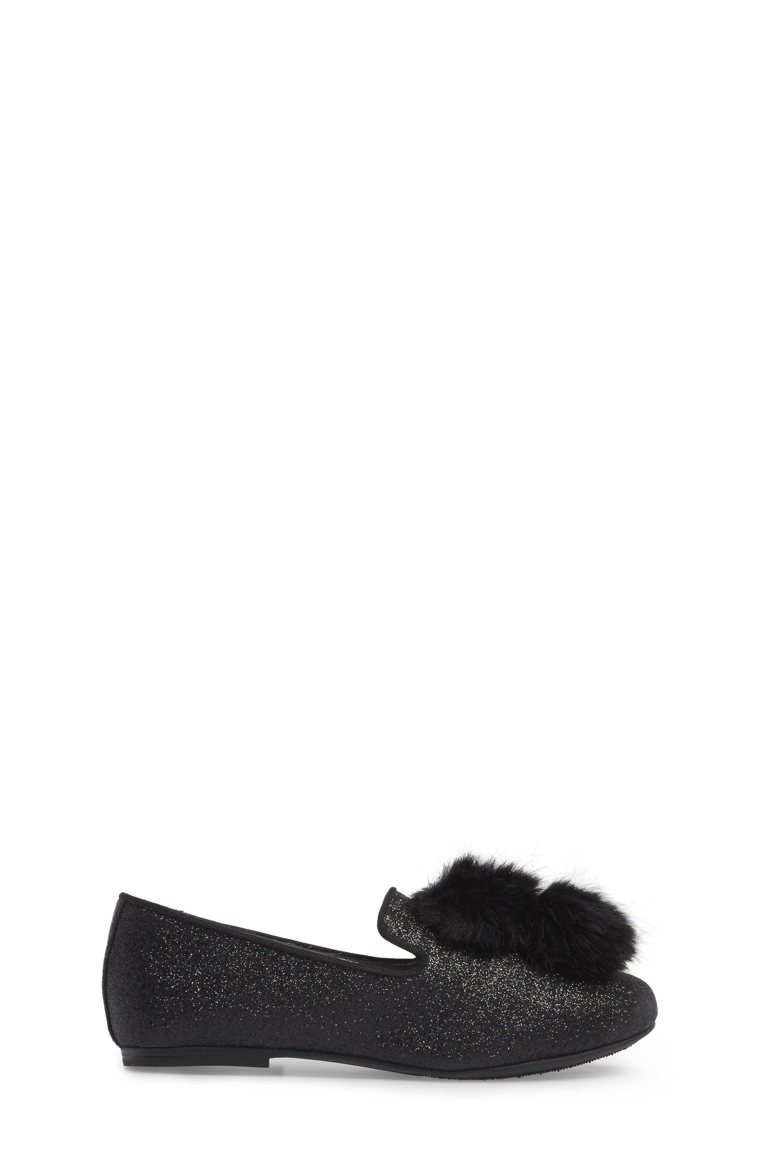 Caela Faux Fur Loafer,                             Alternate thumbnail 3, color,                             Black Glitter
