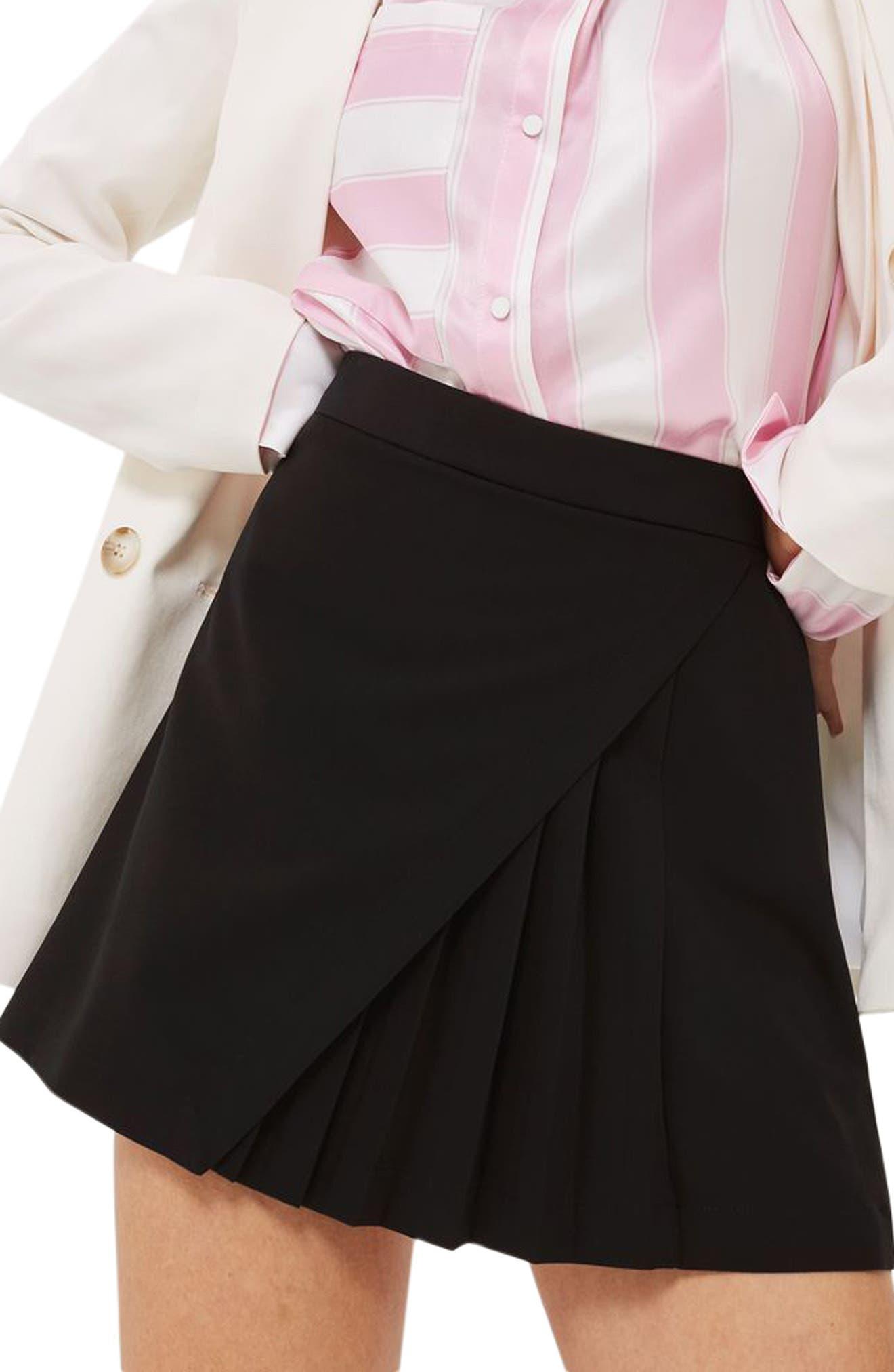 Topshop Pleated Panel Miniskirt