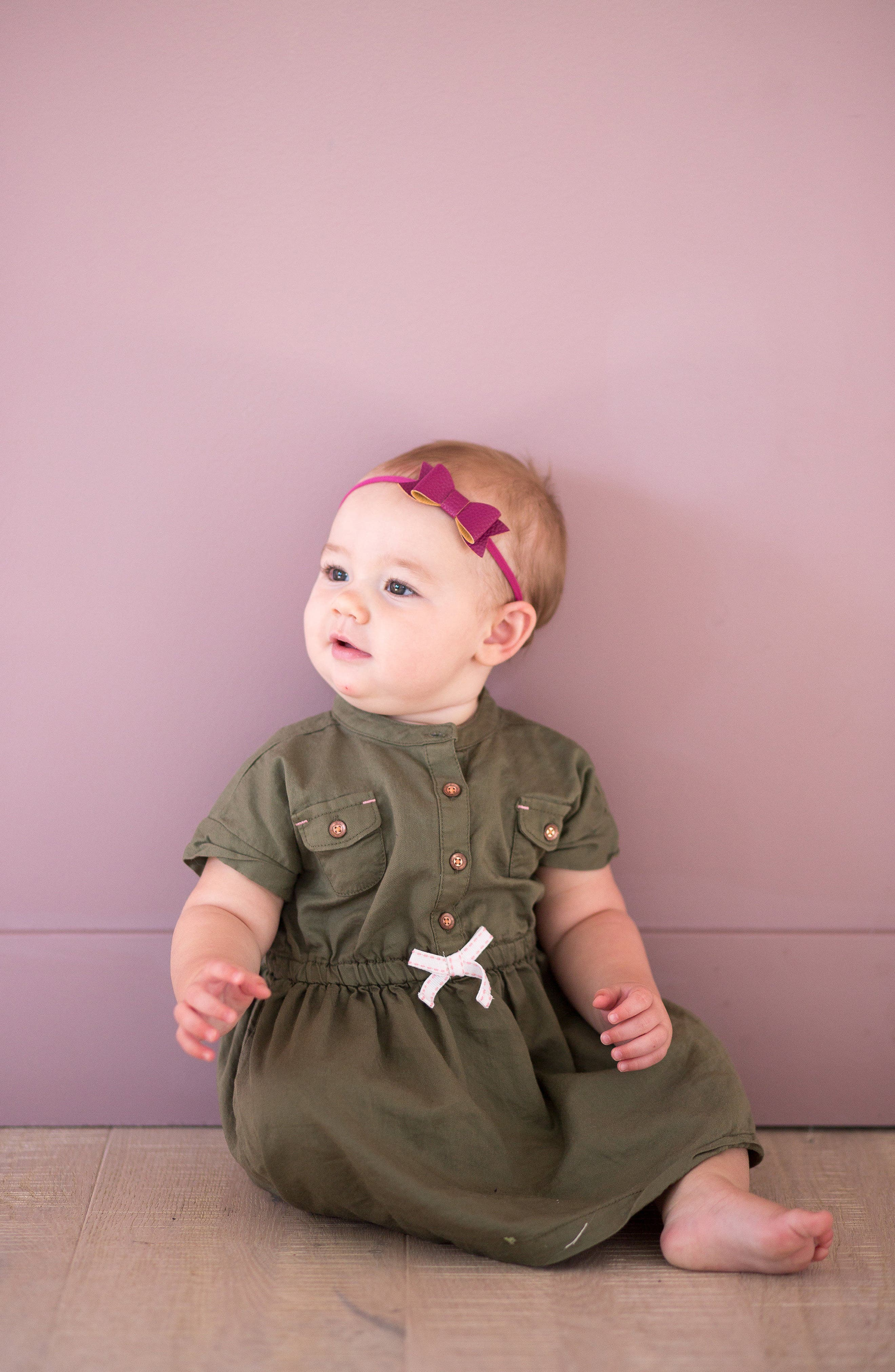 Alternate Image 2  - Baby BlingMetallic Faux Leather Bow Headband (Baby Girls)