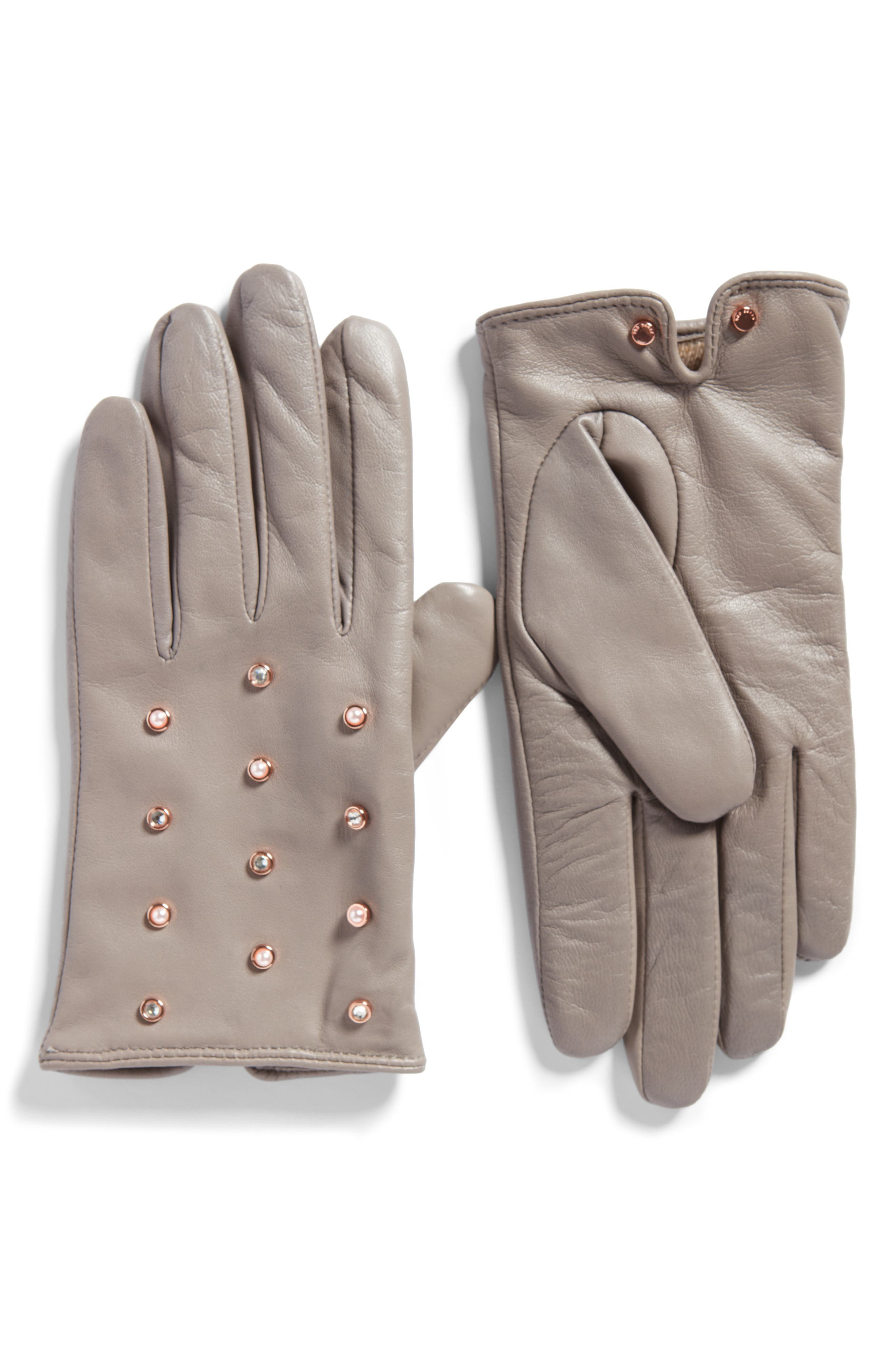 Imitation Pearl & Crystal Scattered Leather Gloves,                             Main thumbnail 1, color,                             09-Light Grey