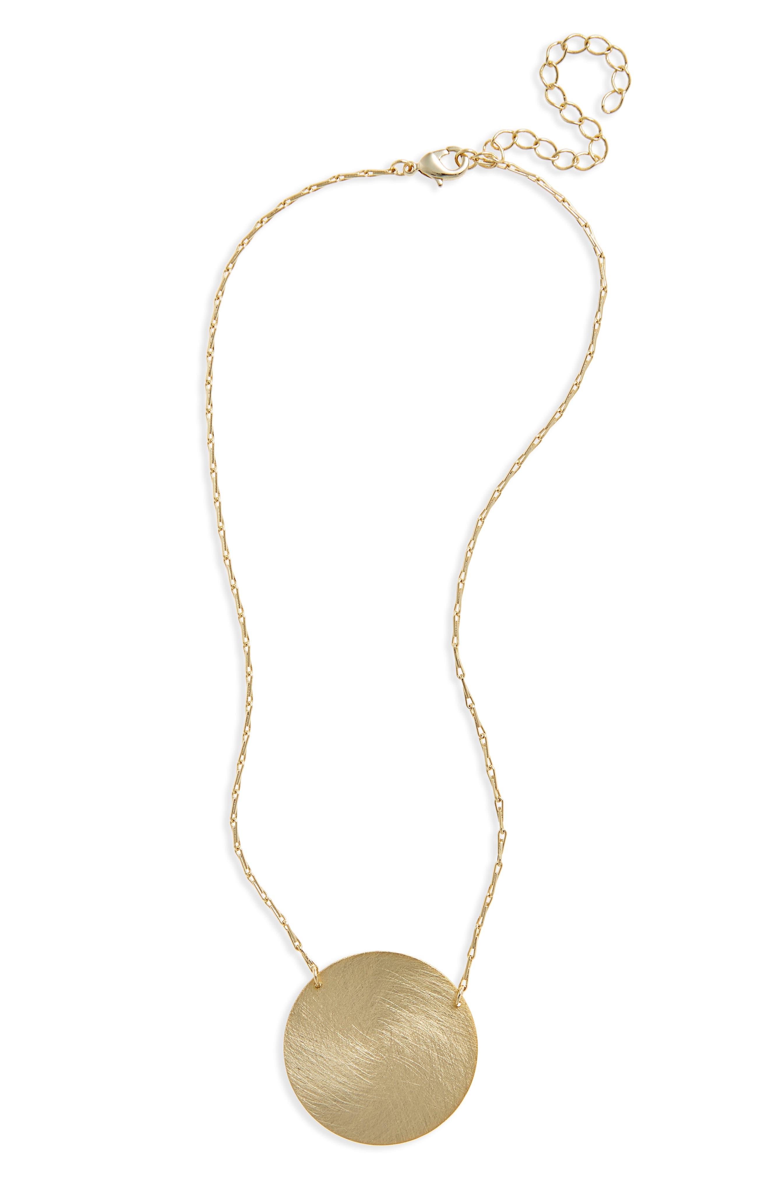 Halogen® Large Disc Pendant Necklace
