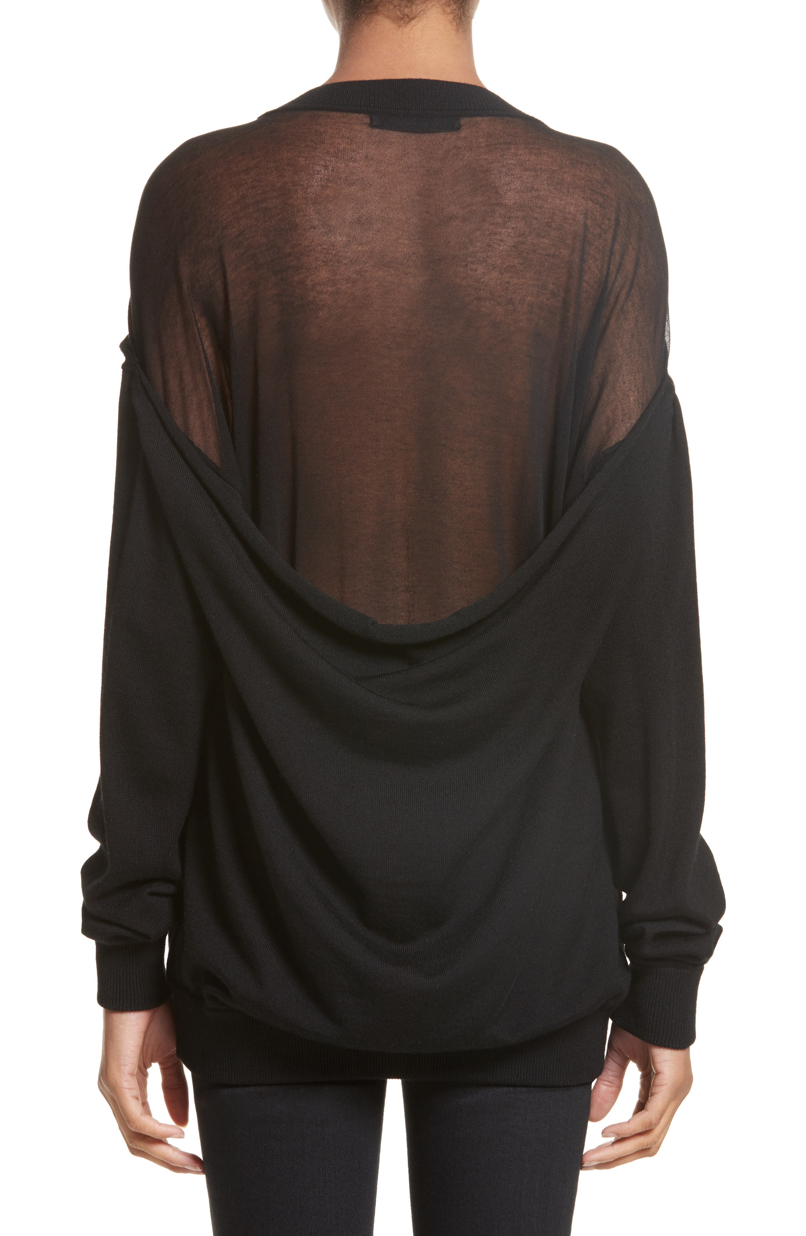 Drape Back Merino Wool Sweater,                             Alternate thumbnail 2, color,                             Black