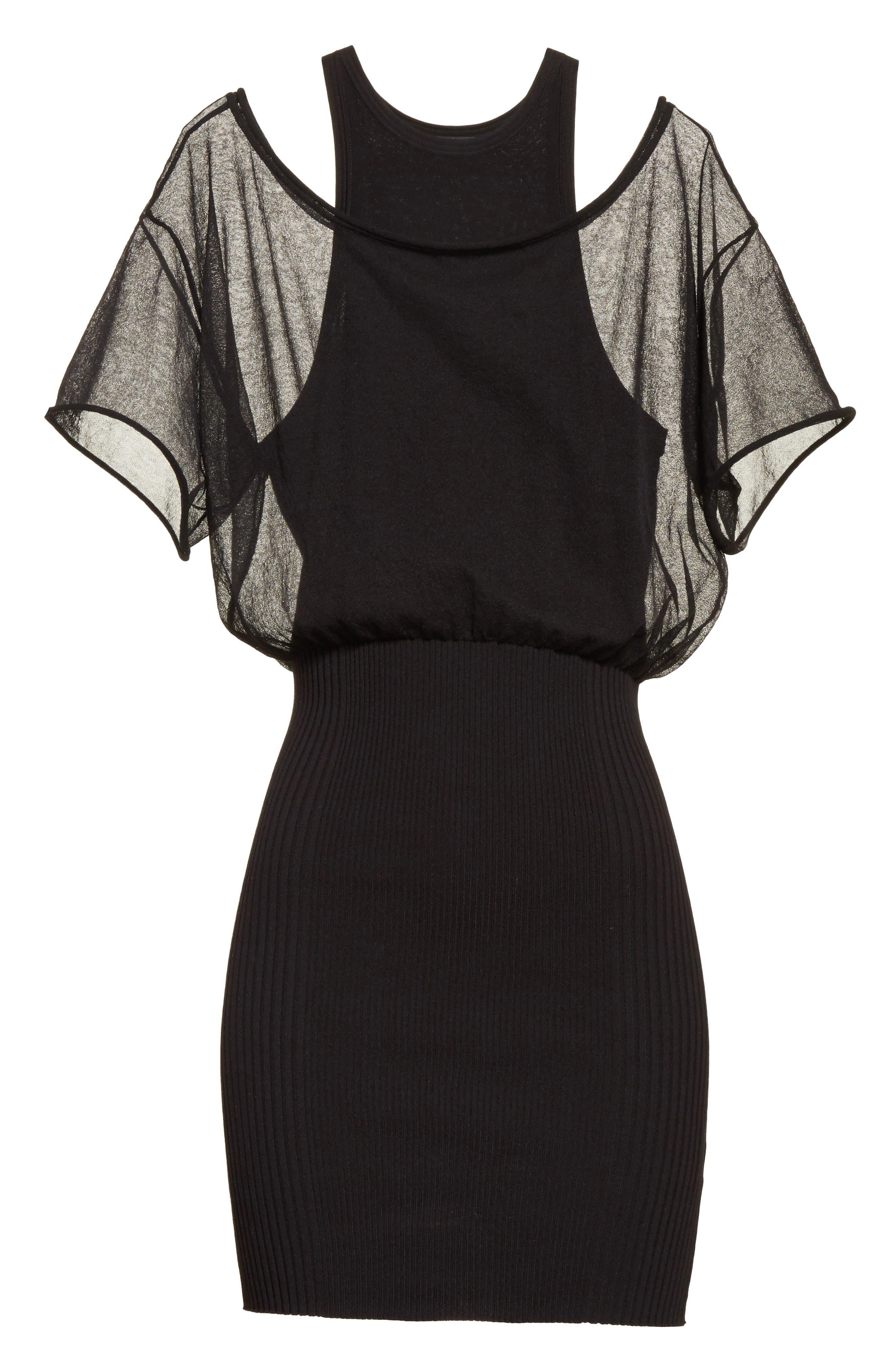 Sheer Popover Knit Dress,                             Alternate thumbnail 7, color,                             Black