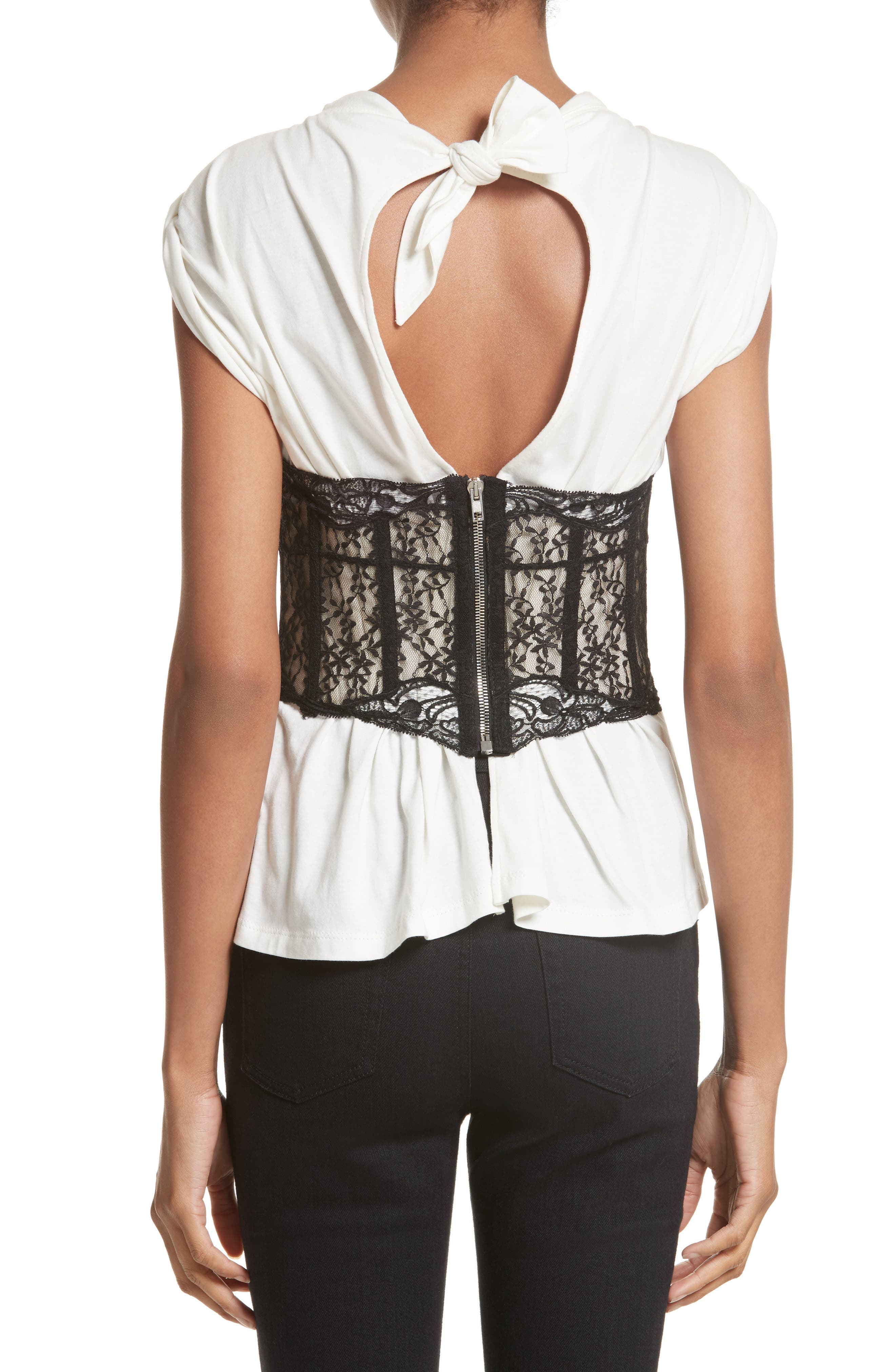 Cotton Top with Lace Bustier,                             Alternate thumbnail 2, color,                             Ivory