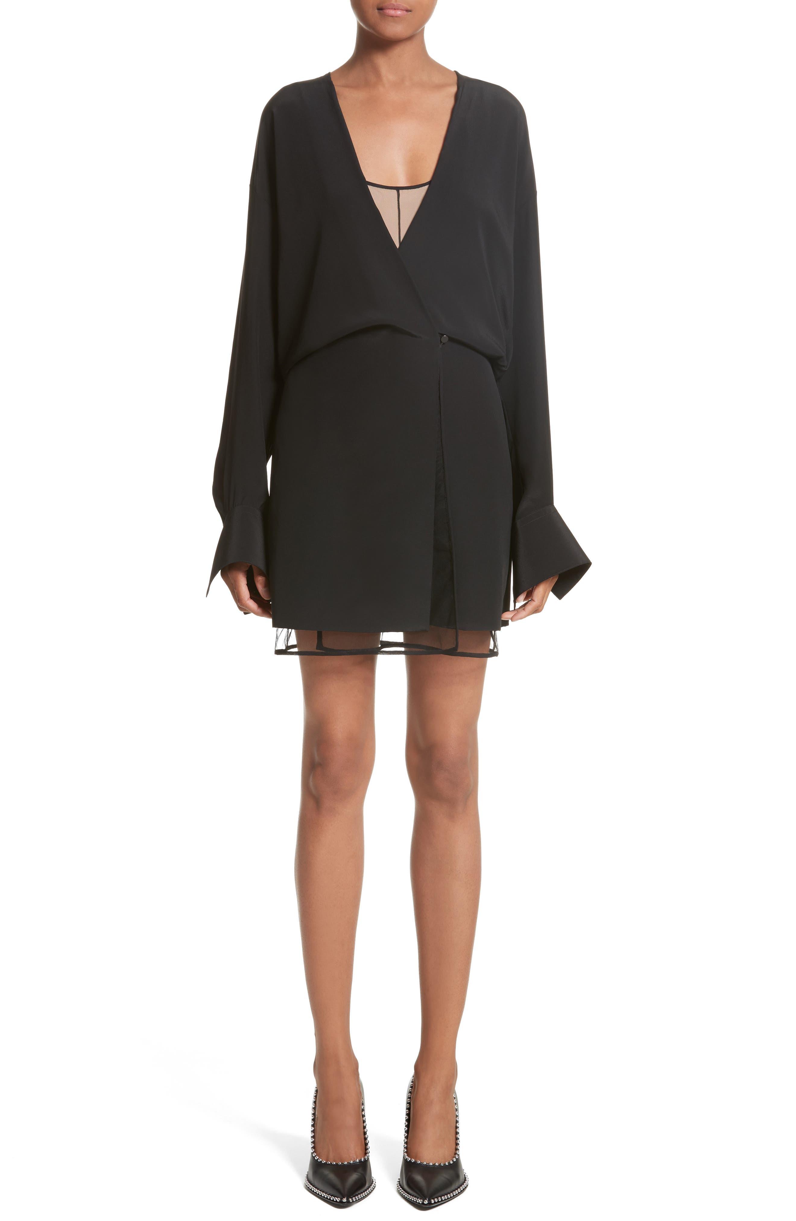 Tulle Lined Minidress,                             Main thumbnail 1, color,                             Black