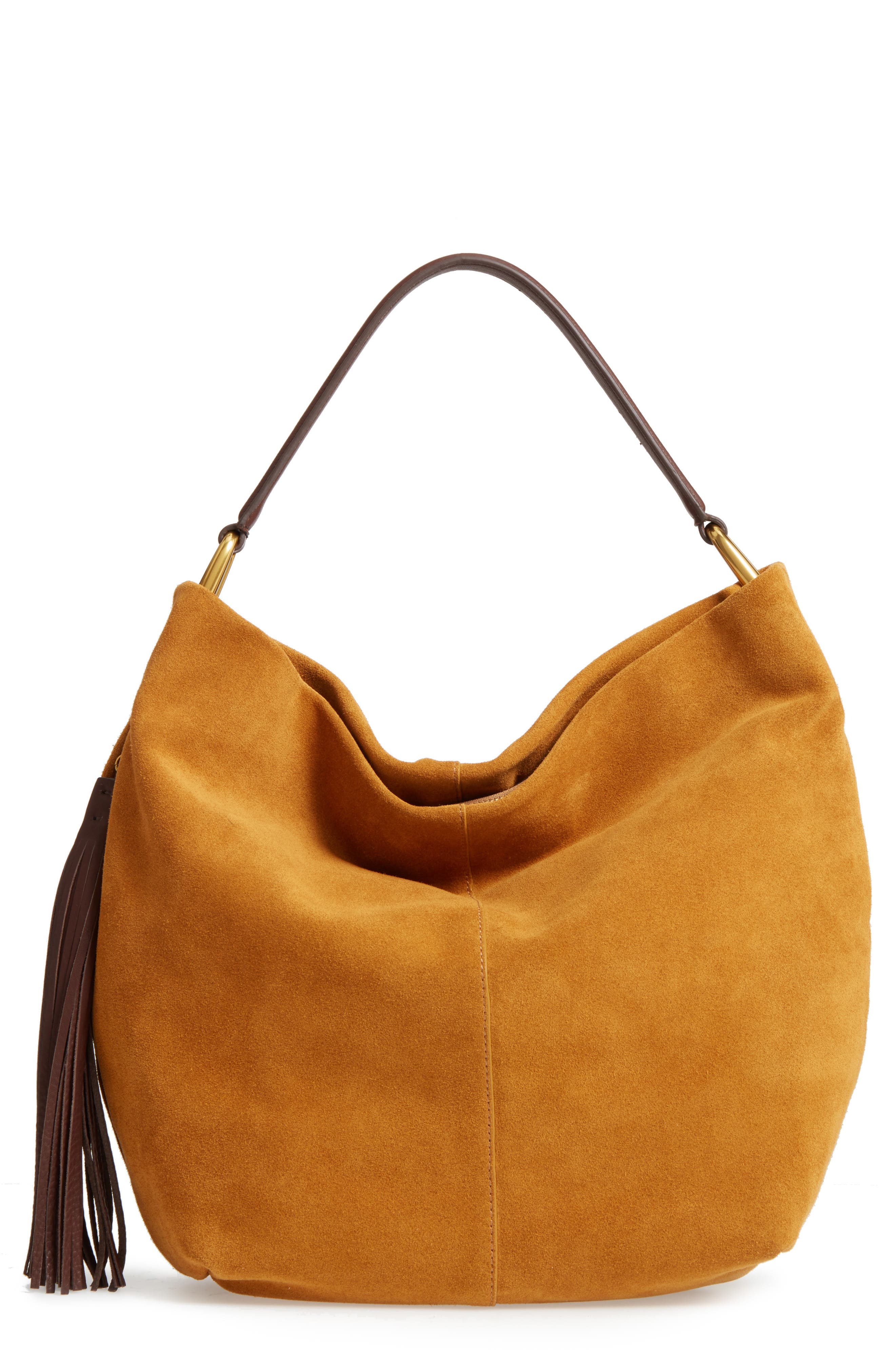 Meridian Suede Hobo,                             Main thumbnail 1, color,                             Harvest