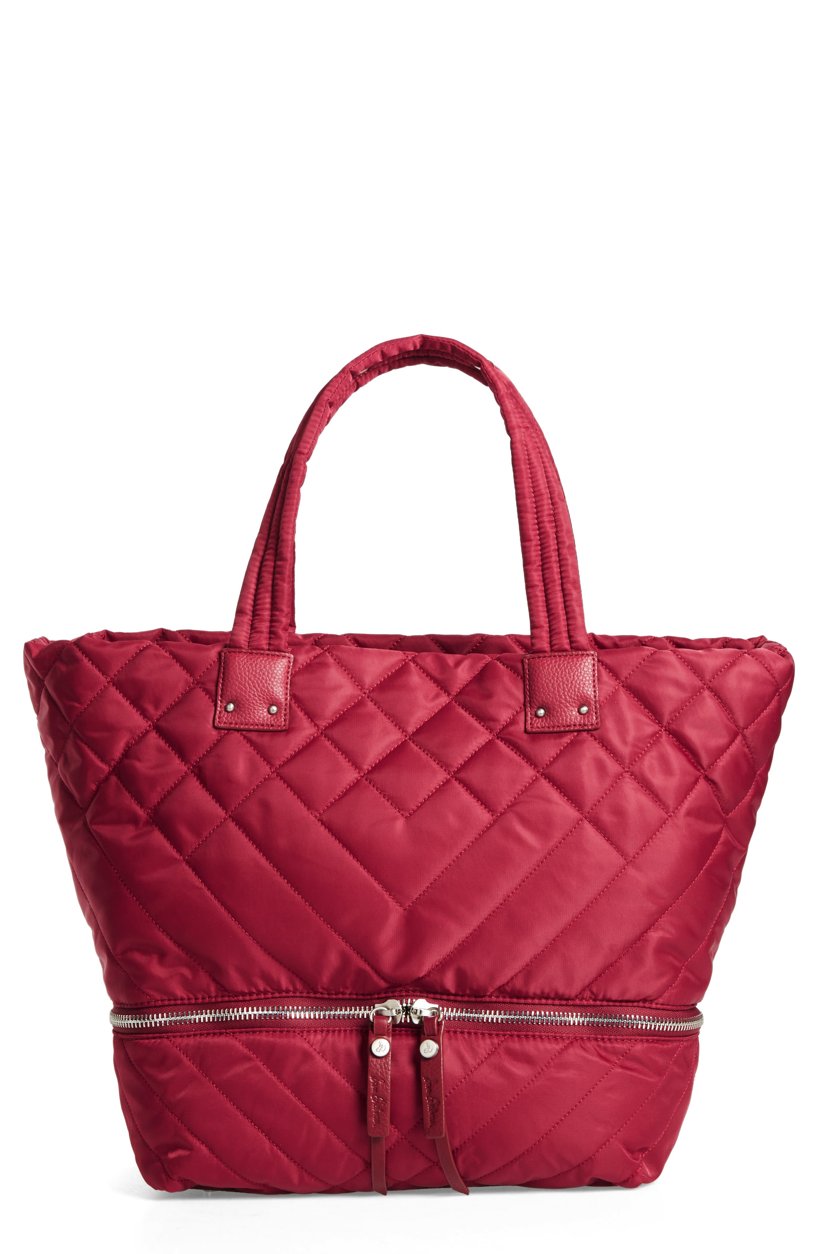 Arianna Quilted Nylon Tote,                         Main,                         color, Cranberry