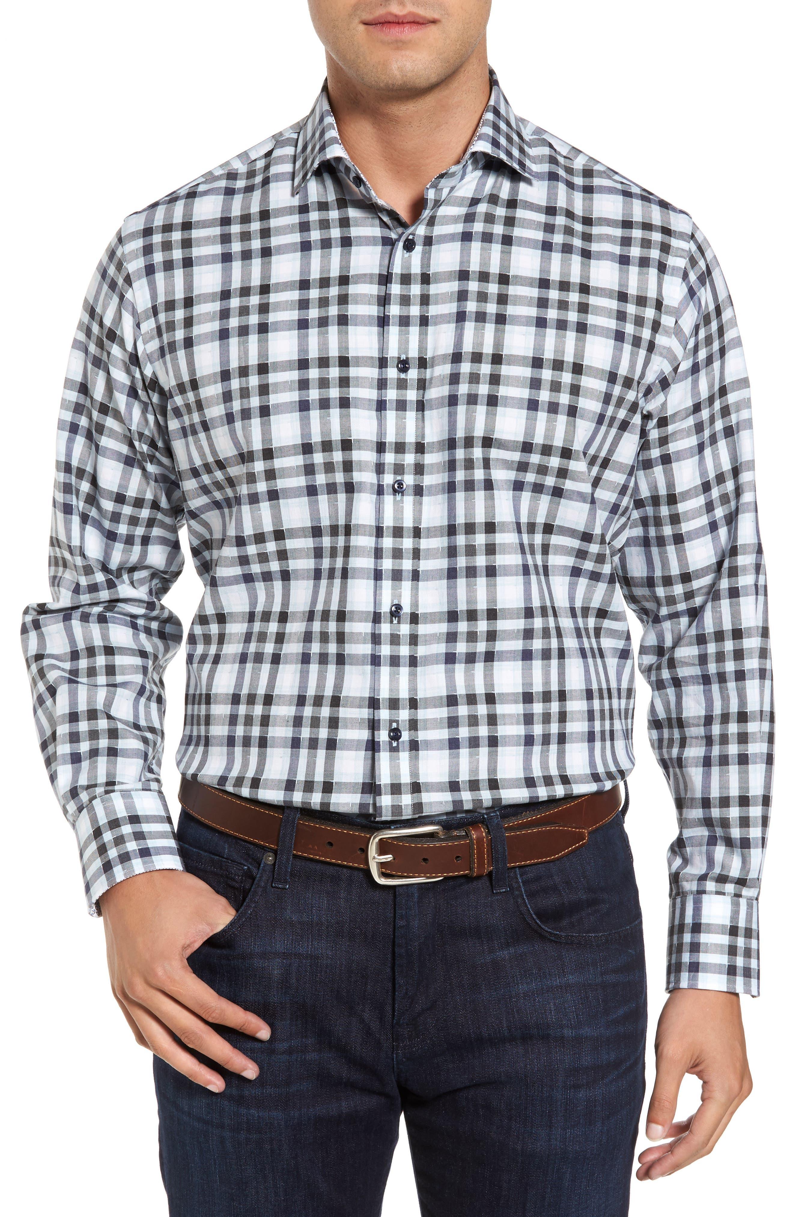 Thomas Dean Corner Stitch Check Sport Shirt