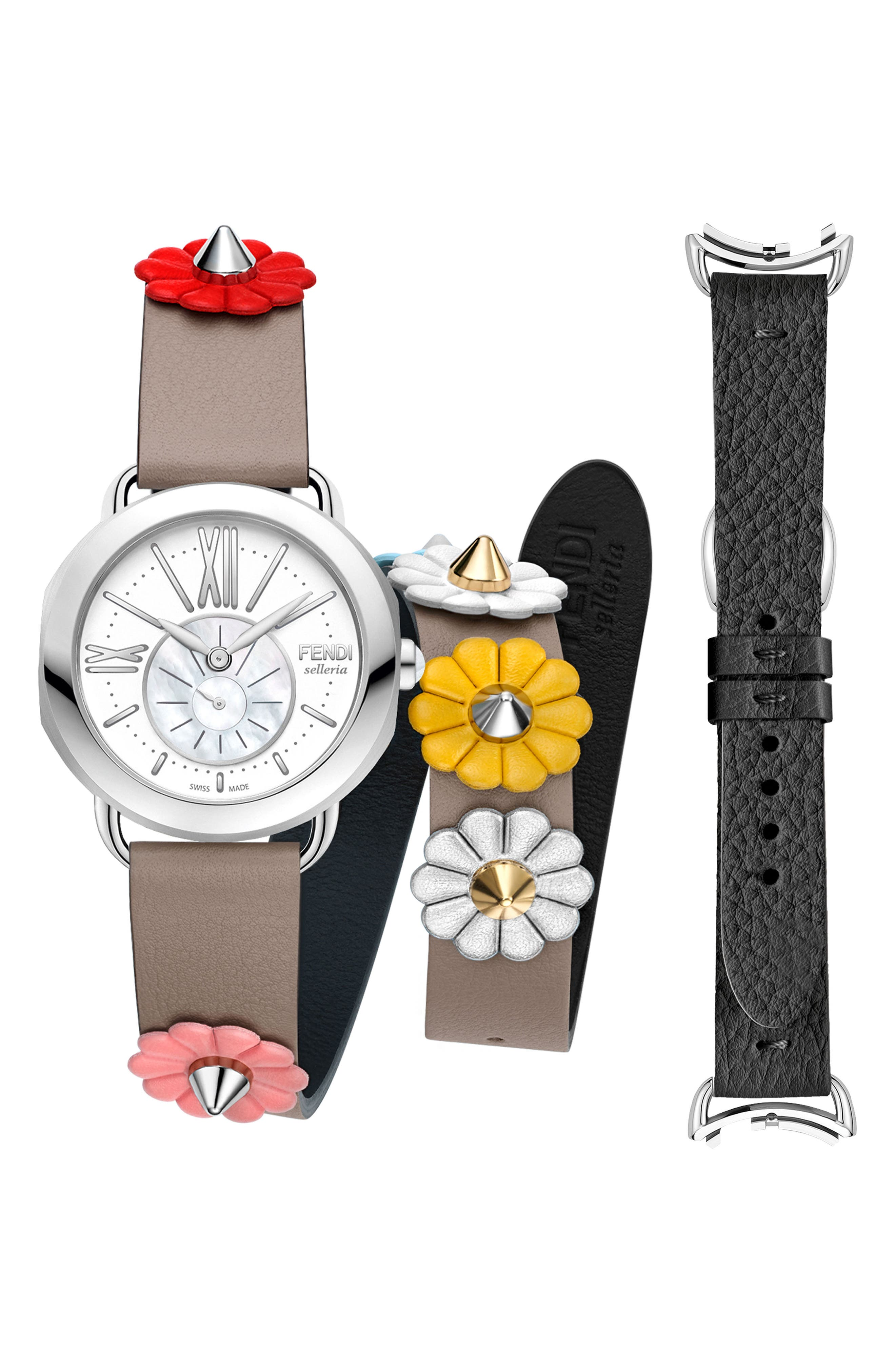 Main Image - Fendi Selleria Leather Strap Watch Set, 36mm