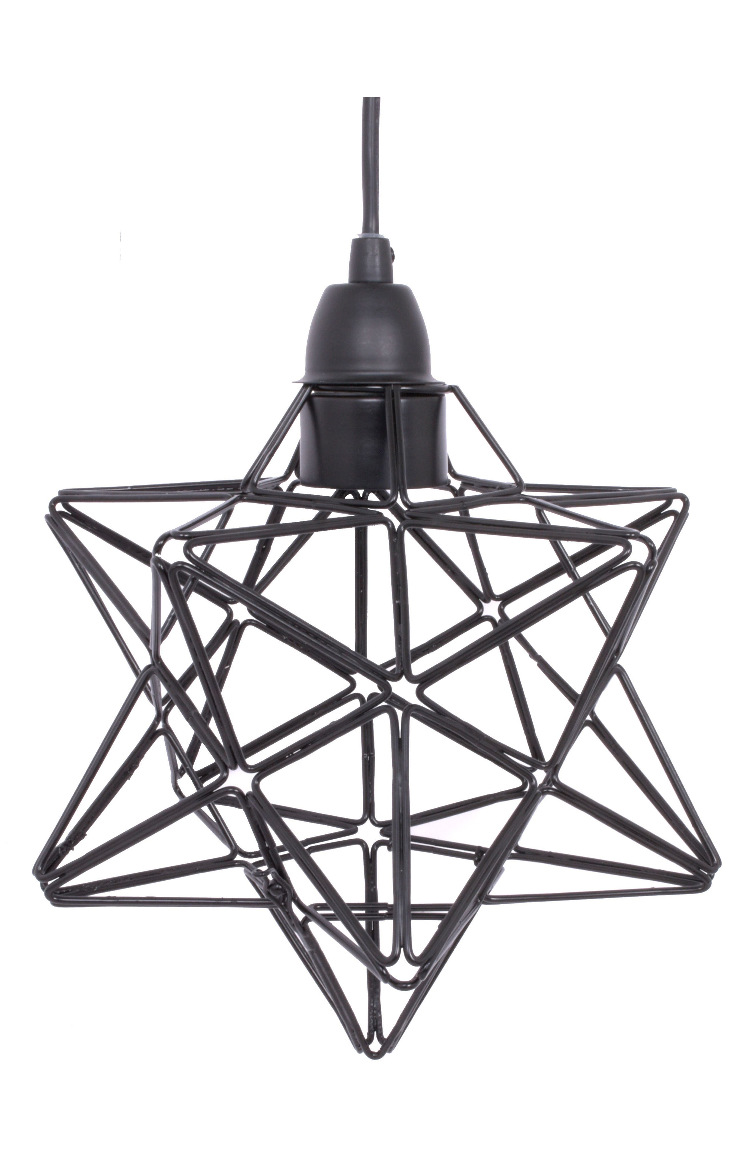 Star Caged Pendant Lamp,                         Main,                         color, Black
