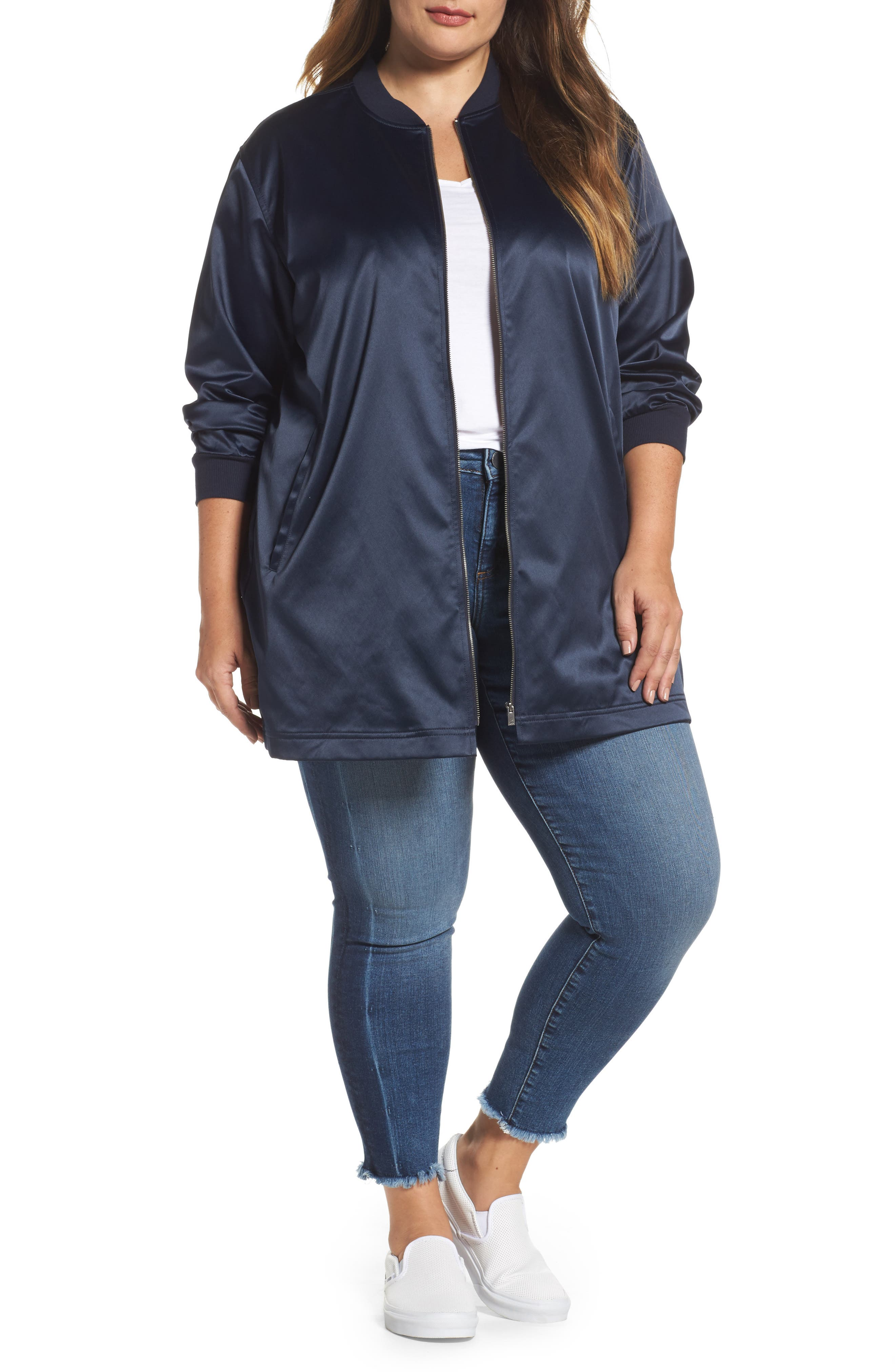 Two by Vince Camuto Long Bomber Jacket (Plus Size)
