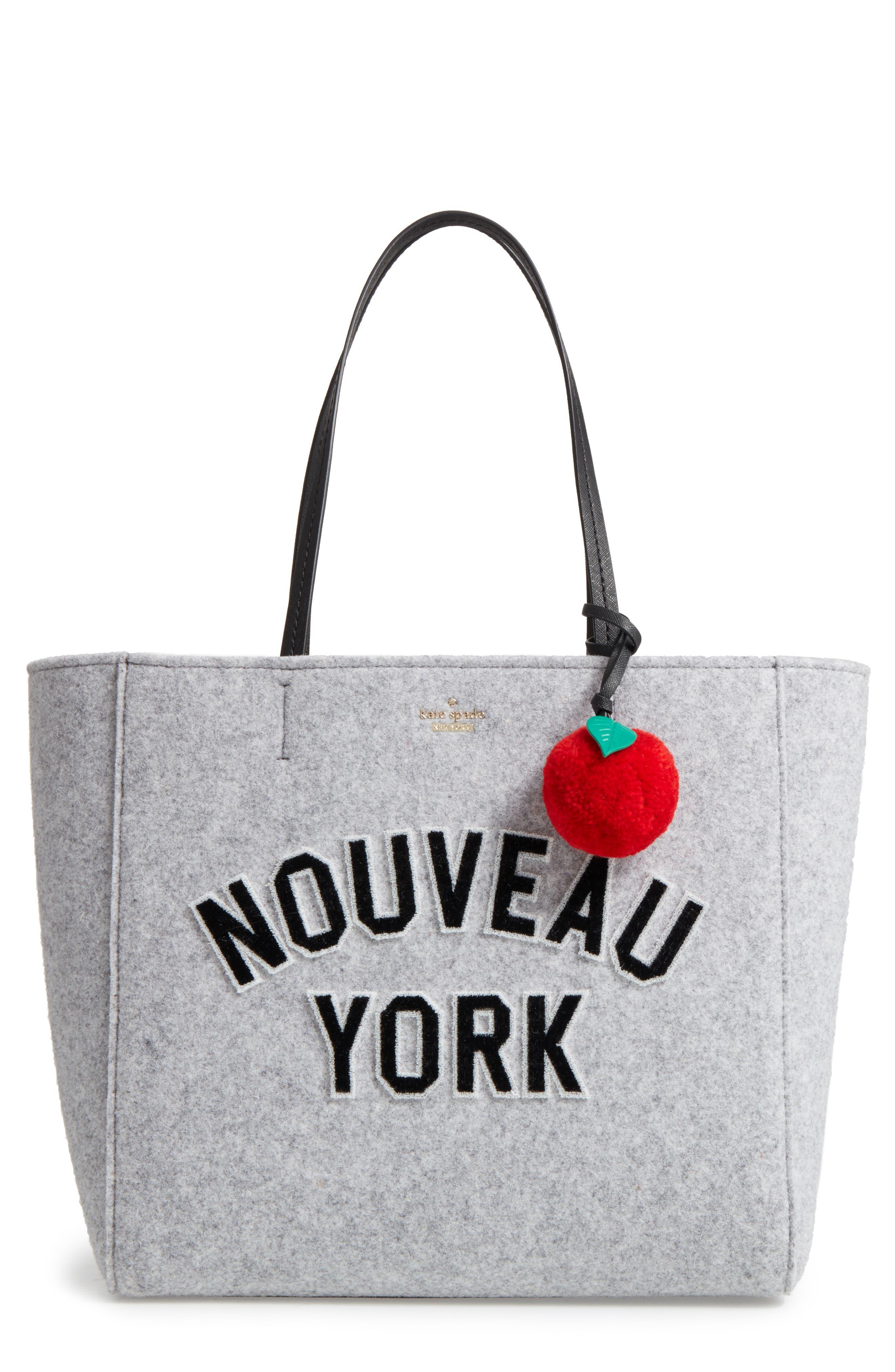 nouveau york - hallie flannel tote & apple pom bag charm,                         Main,                         color, Light Charcoal