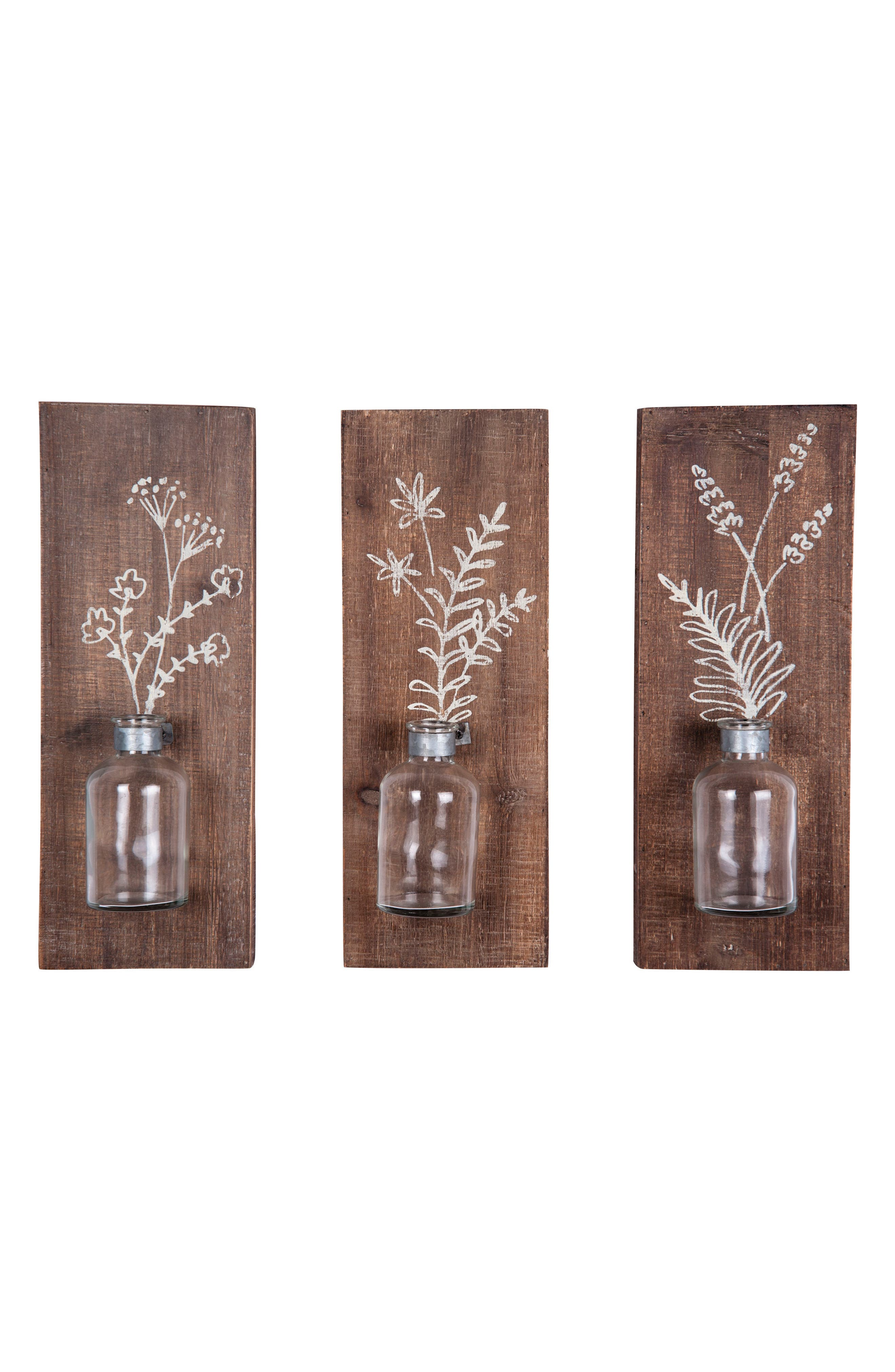 Fern Set of 3 Wall Vases,                         Main,                         color, Wood/ Glass/ Metal
