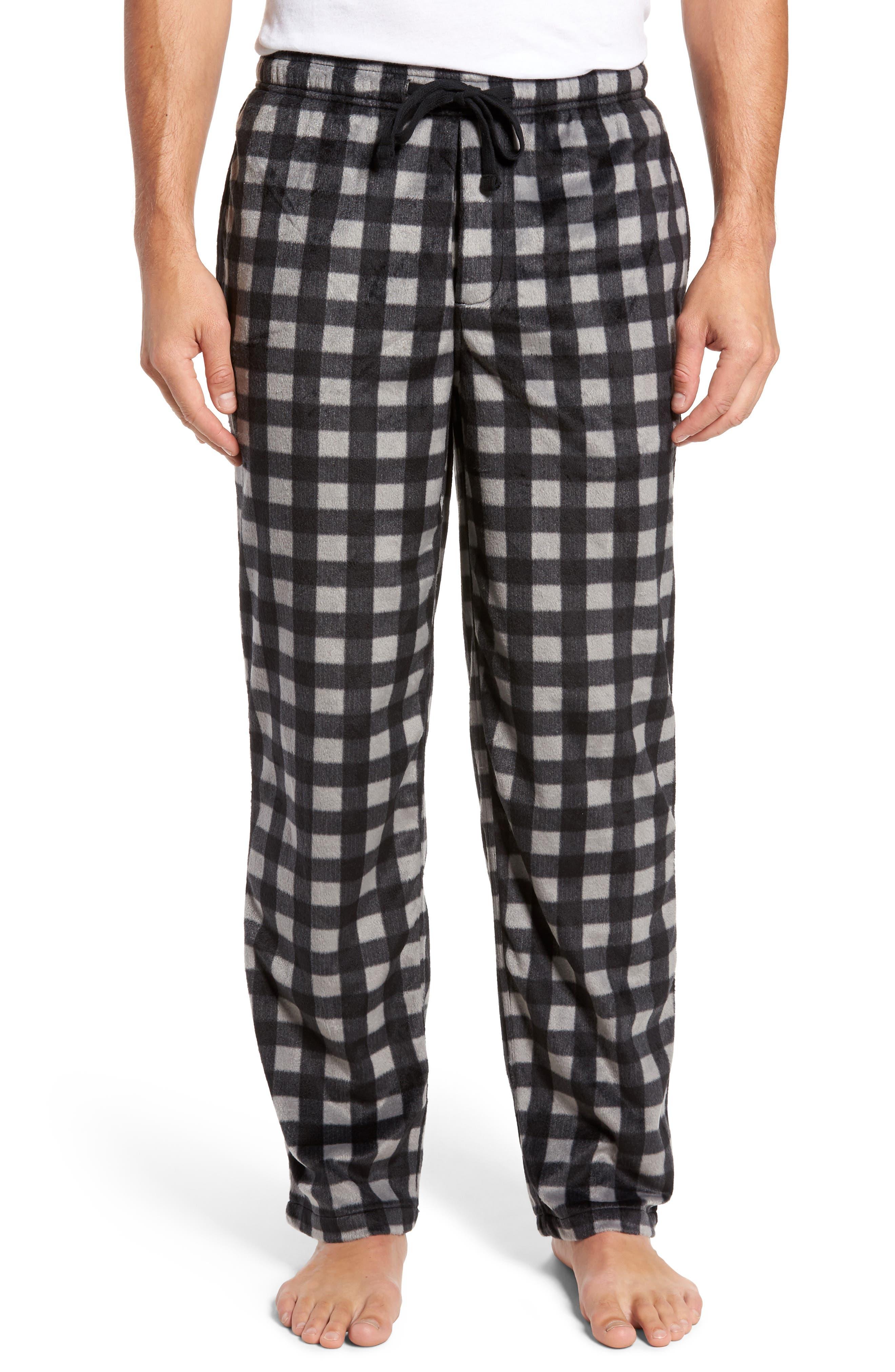 Fleece Lounge Pants,                         Main,                         color, Grey December- Black Buffalo