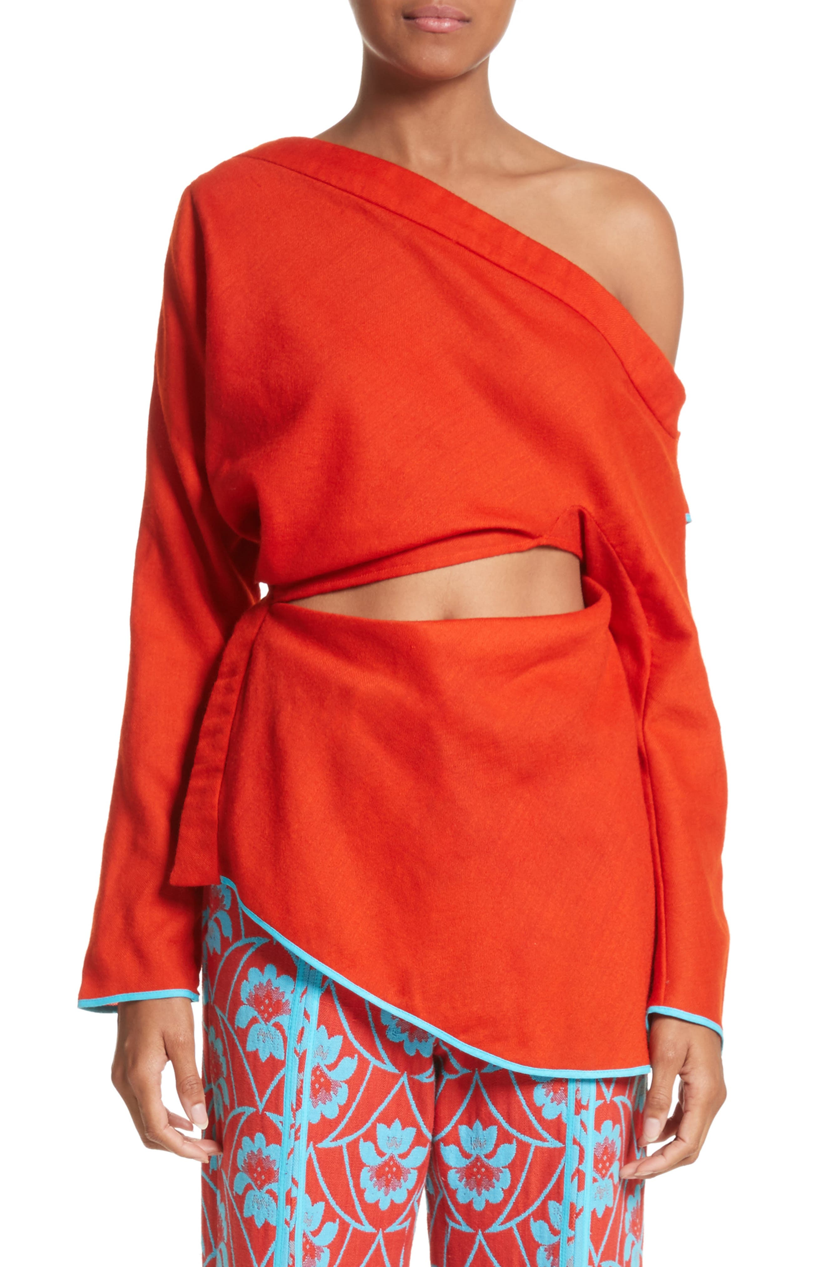 Draped Split One-Shoulder Top,                             Main thumbnail 1, color,                             Red