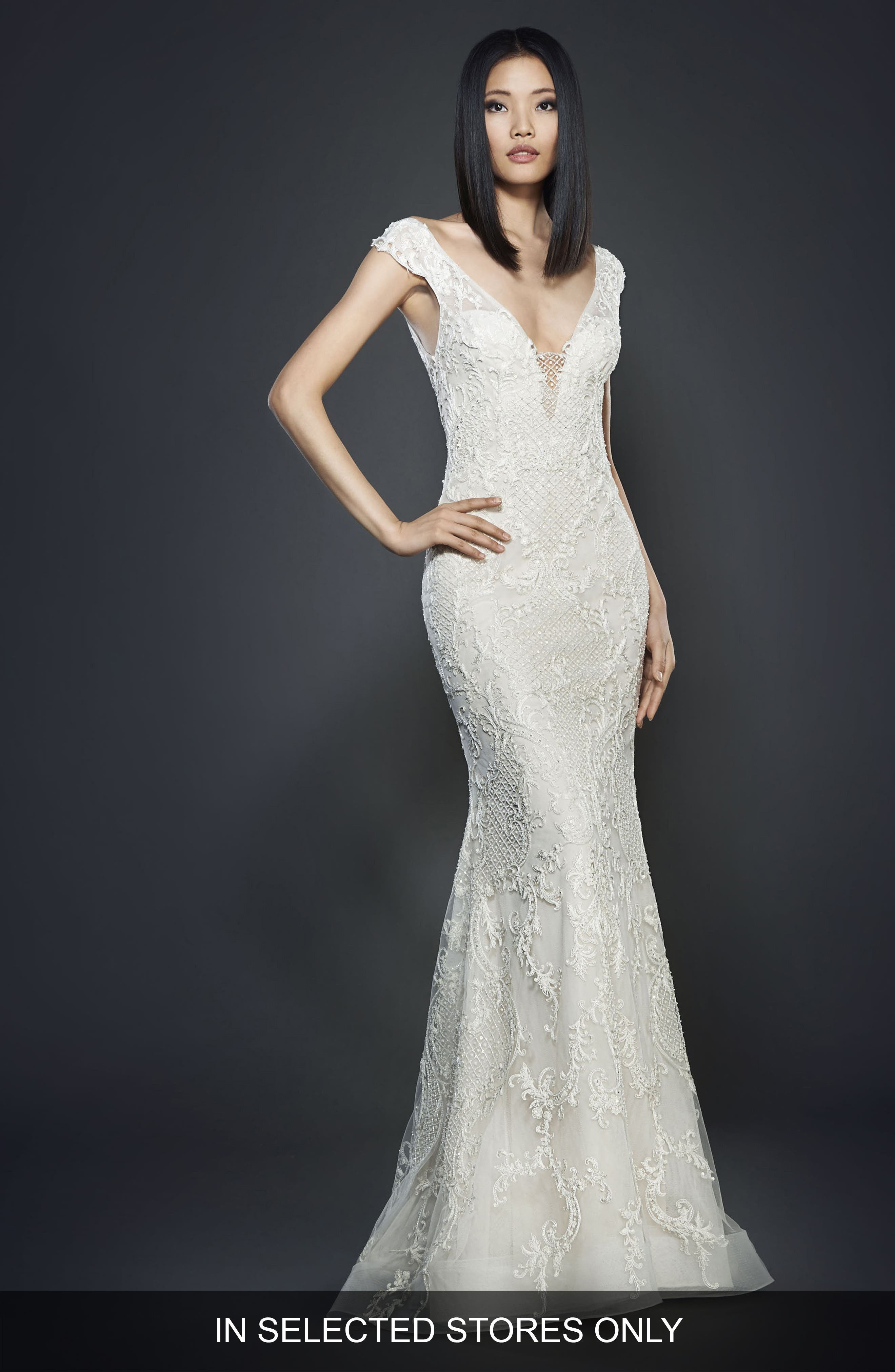 Embroidered Off the Shoulder Gown,                         Main,                         color, Ivory/ Cashmere