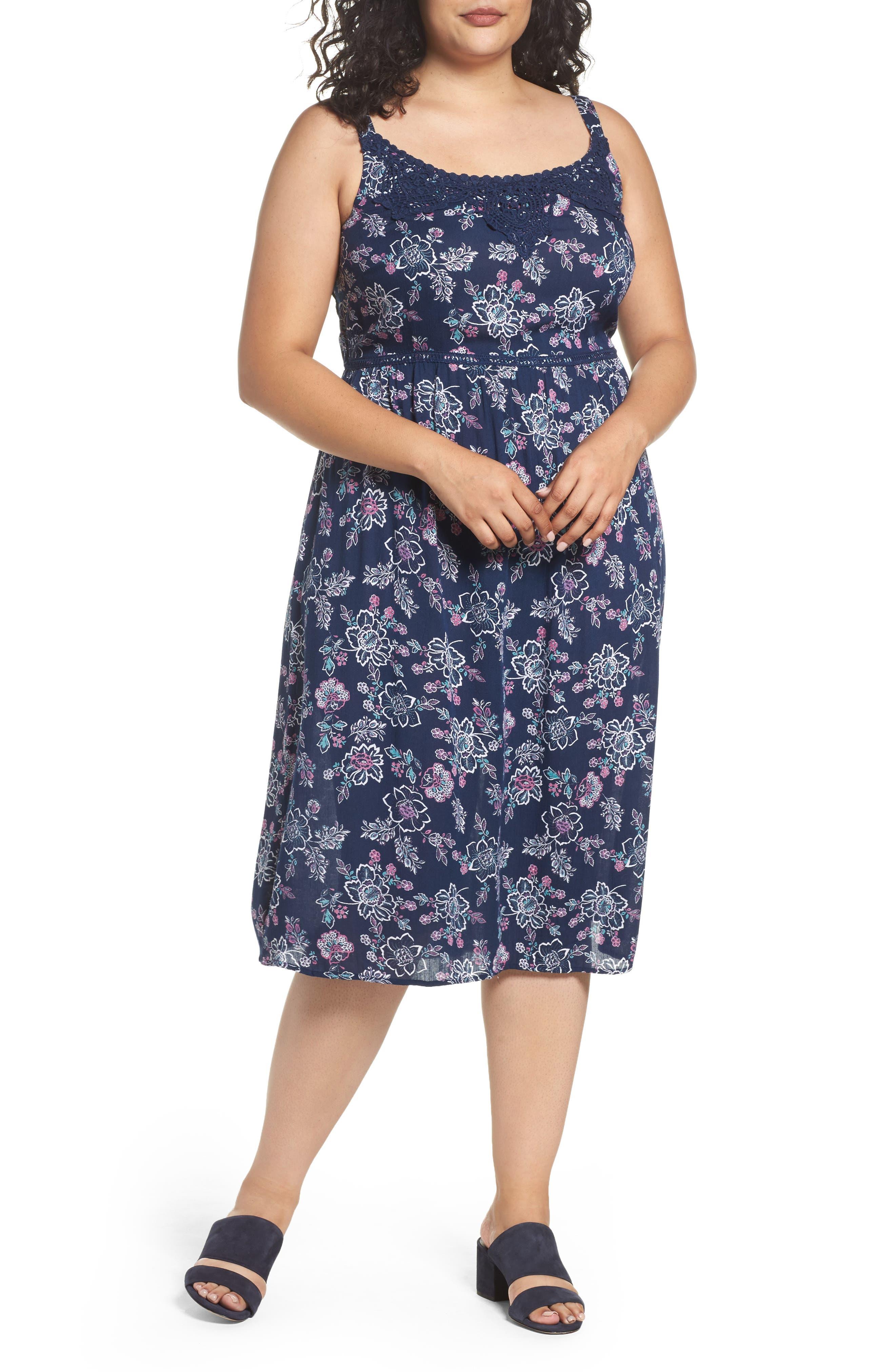Floral Print Crochet Trim Dress,                         Main,                         color, Navy