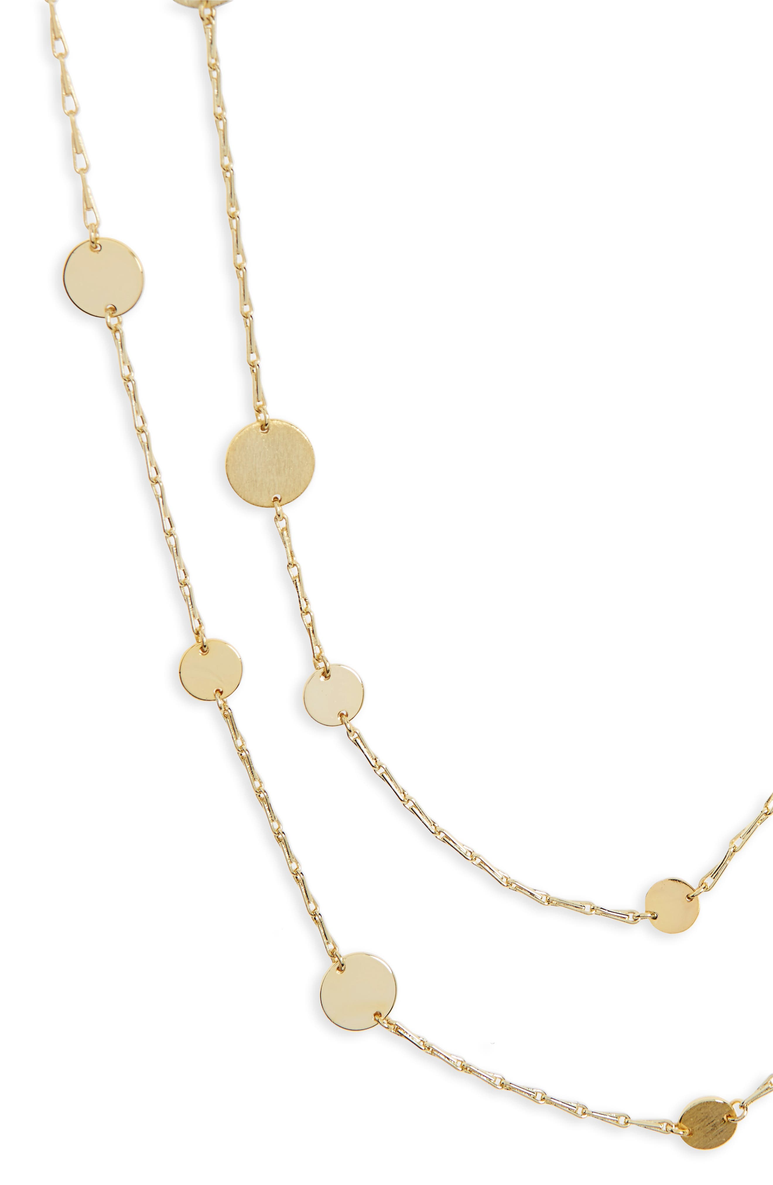 Long Disc Multistrand Necklace,                             Alternate thumbnail 3, color,                             Gold