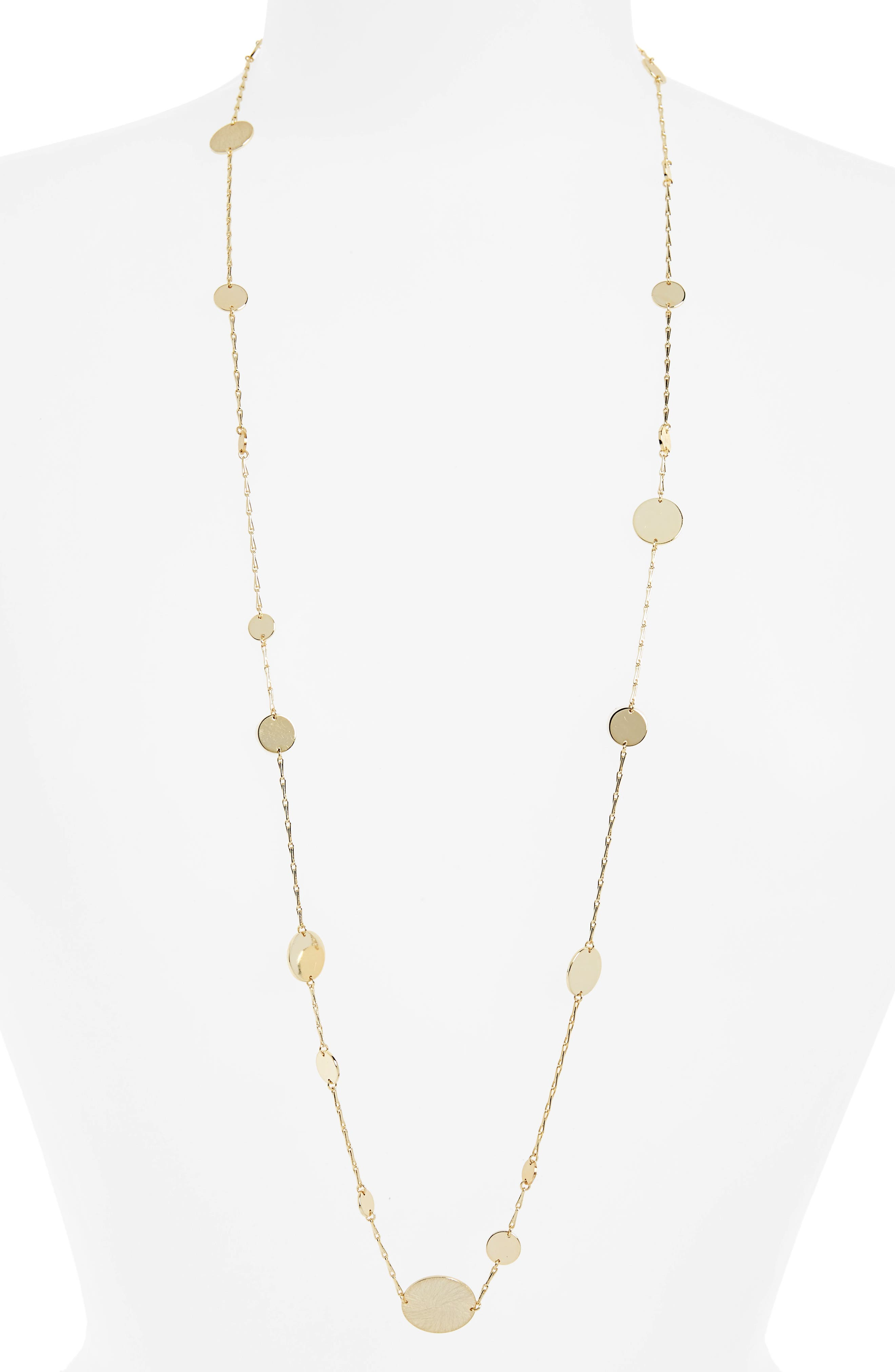 Long Disc Multistrand Necklace,                         Main,                         color, Gold