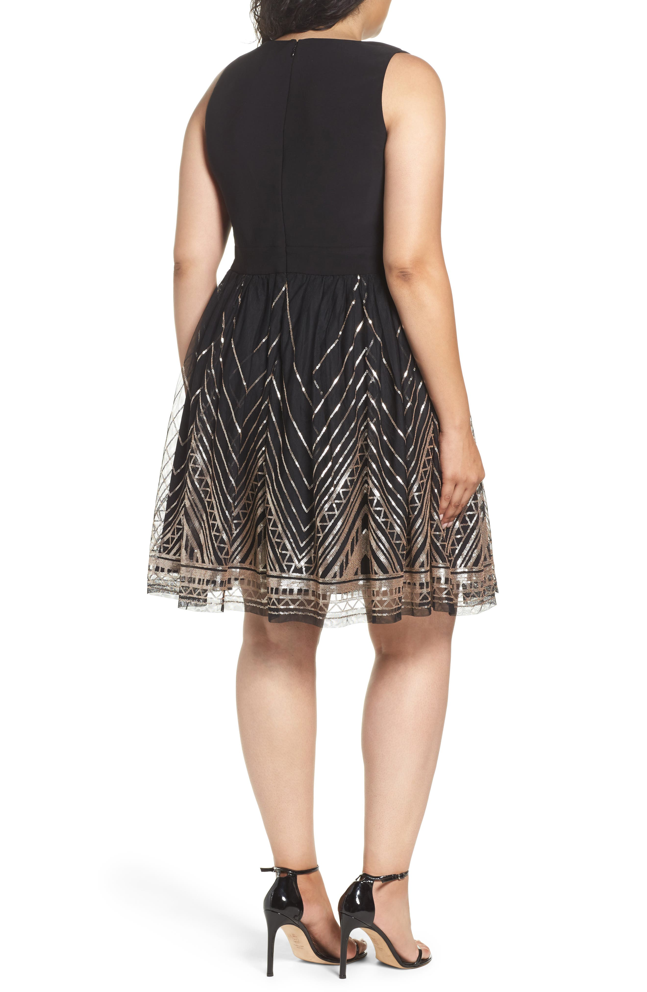 Alternate Image 2  - Vince Camuto Sequin Fit & Flare Dress (Plus Size)