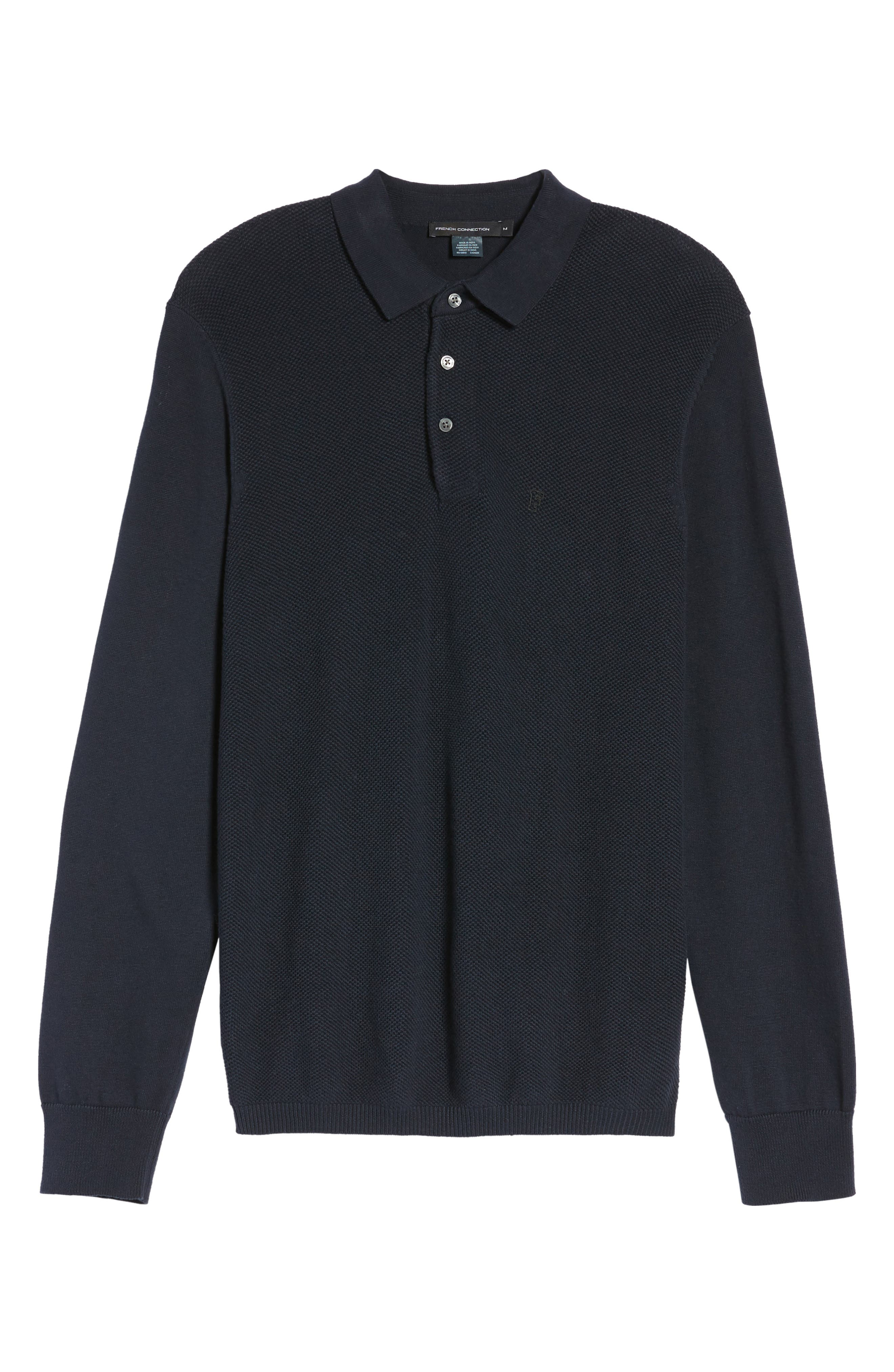 Textured Long Sleeve Polo,                             Alternate thumbnail 6, color,                             Marine Blue