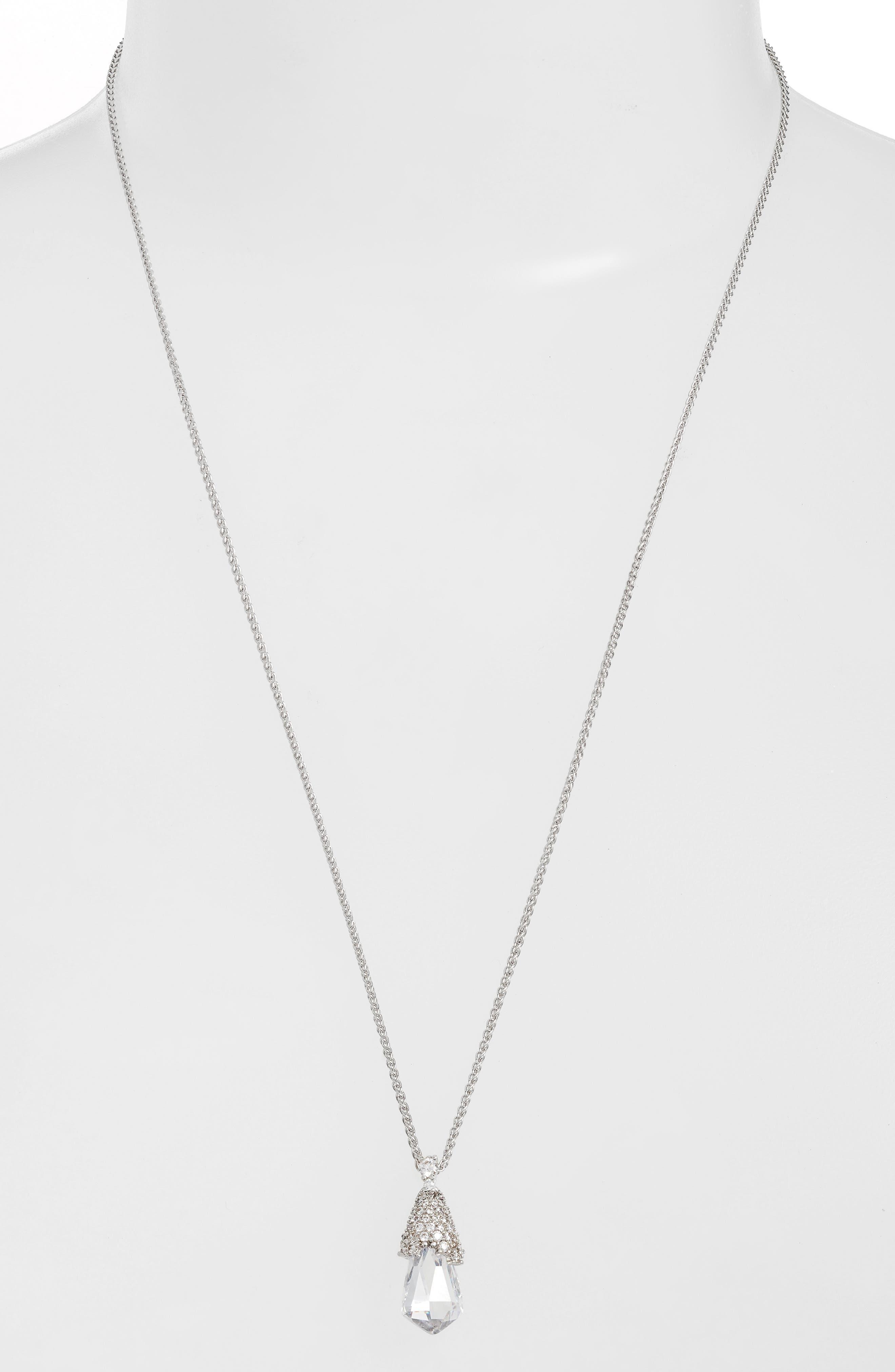 Ella Convertible Teardrop Pendant Necklace,                             Main thumbnail 1, color,                             Silver