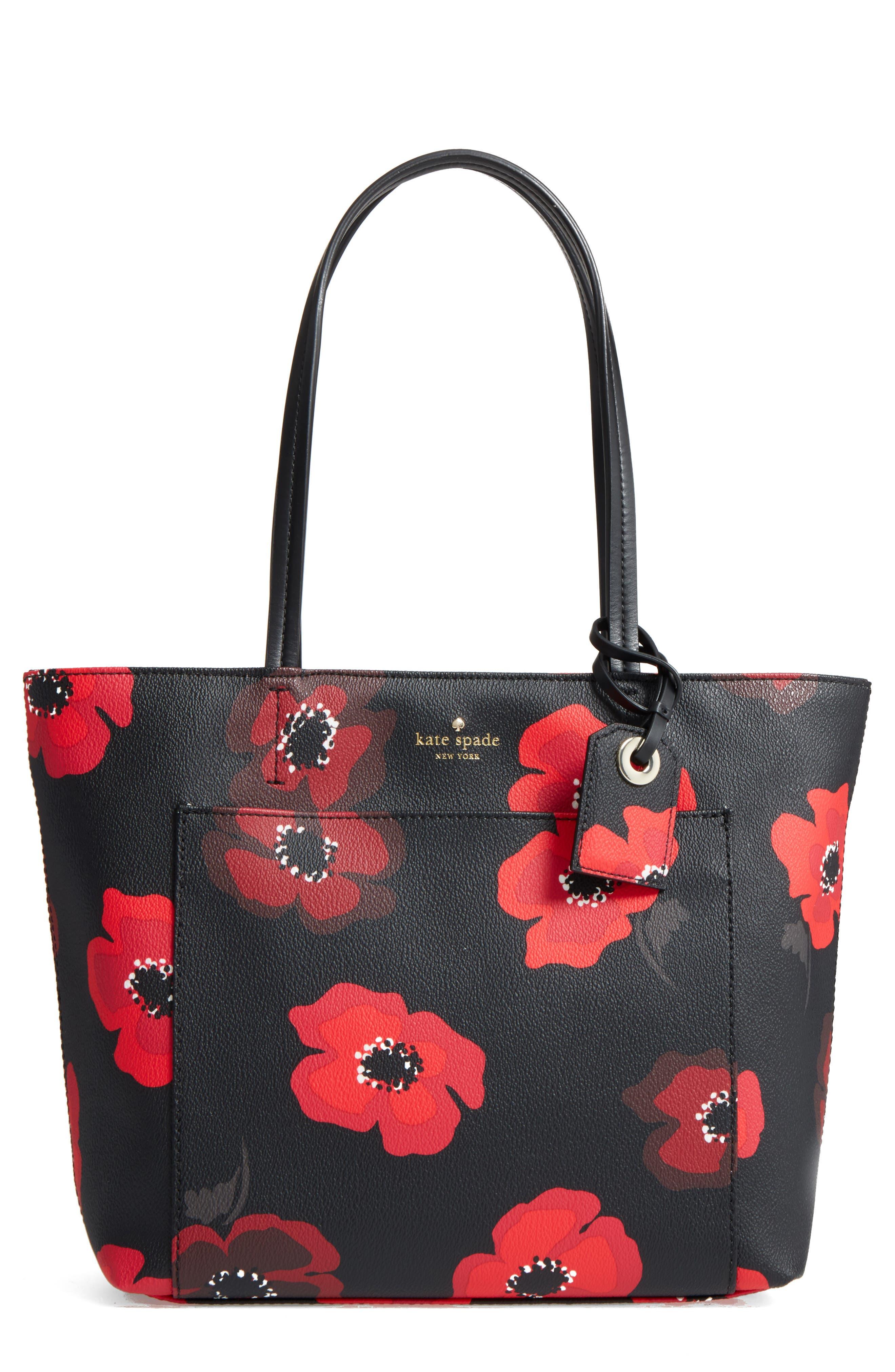 hyde lane poppies - small riley tote,                             Main thumbnail 1, color,                             Black Multi