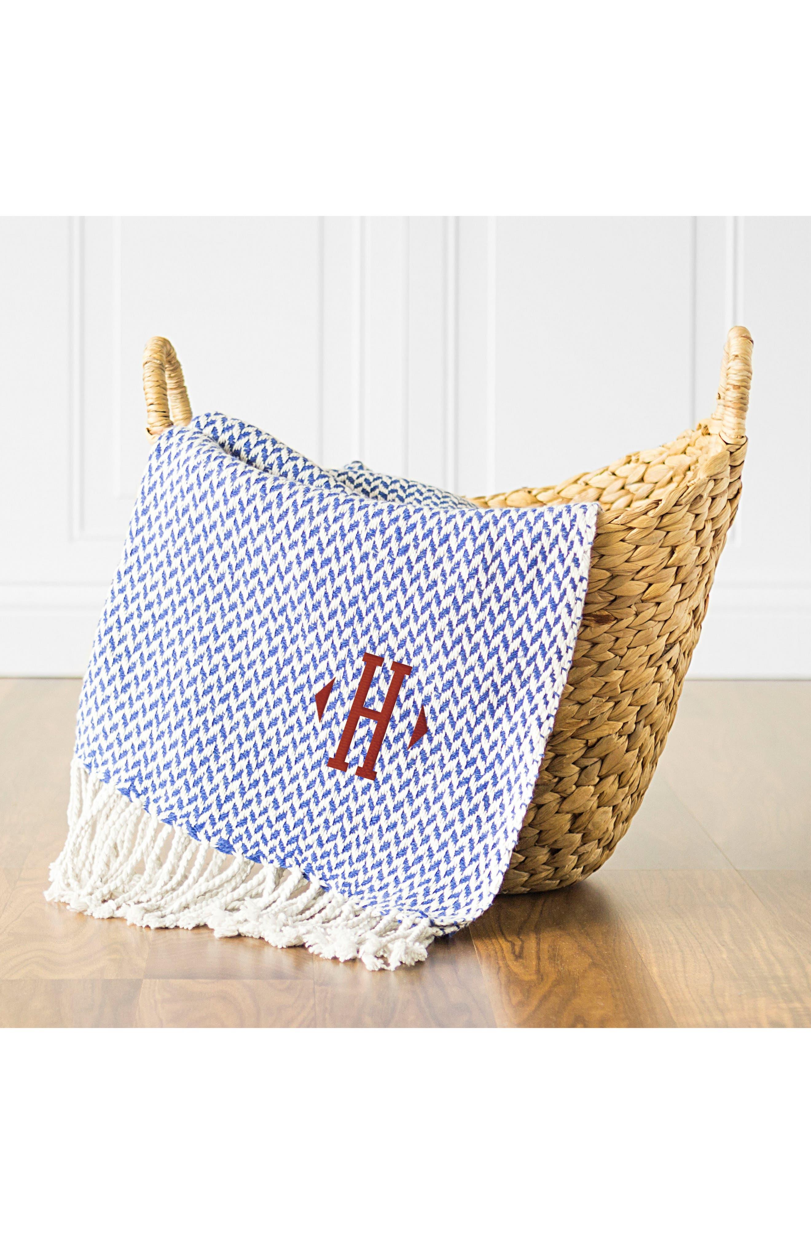 Alternate Image 3  - Cathy's Concepts Monogram Herringbone Throw Blanket