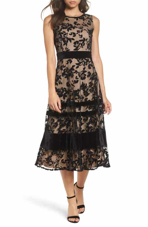 Taylor Dresses Burnout Velvet Midi Dress