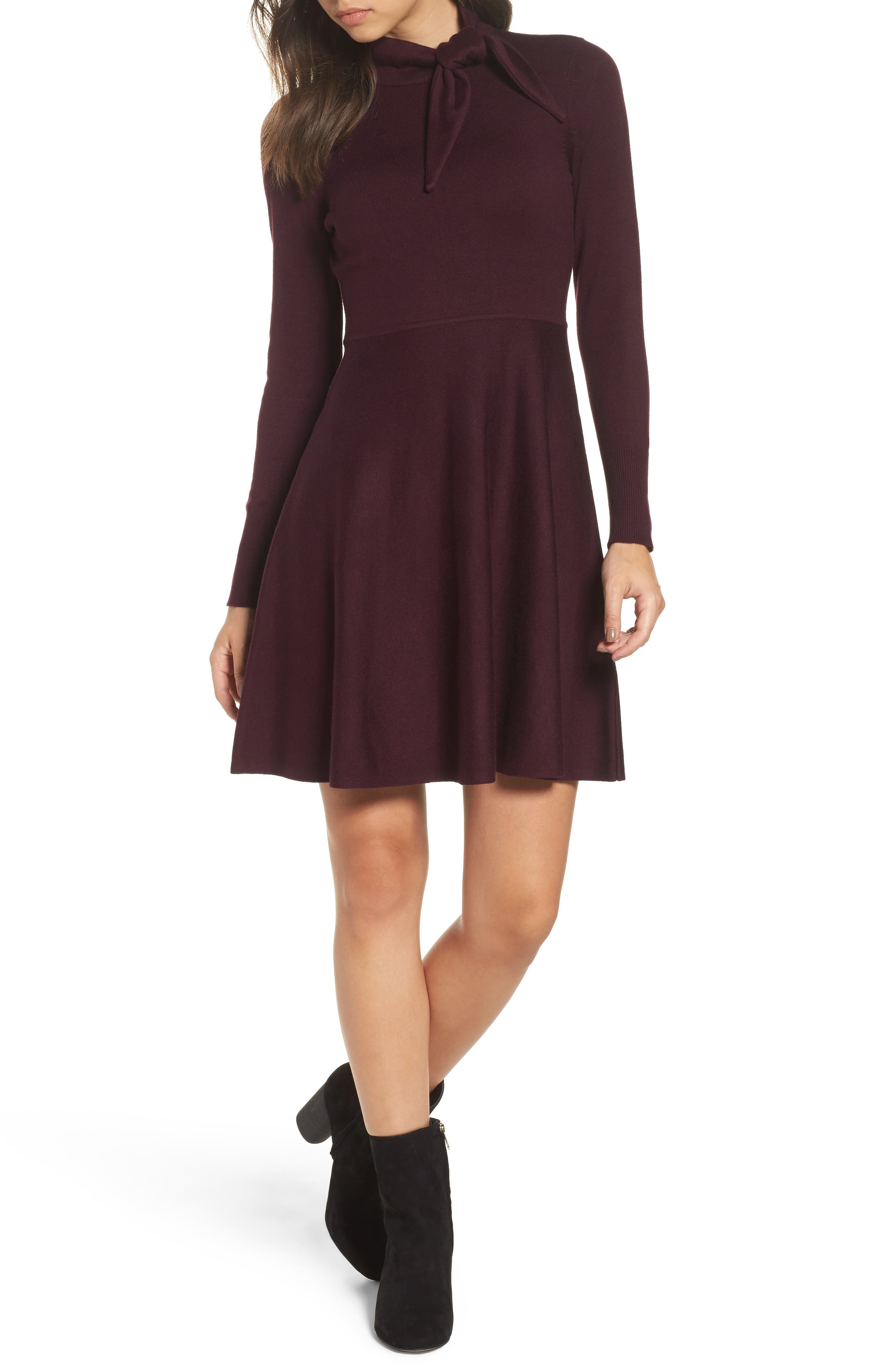 Tie Neck Fit & Flare Dress,                         Main,                         color, Wine