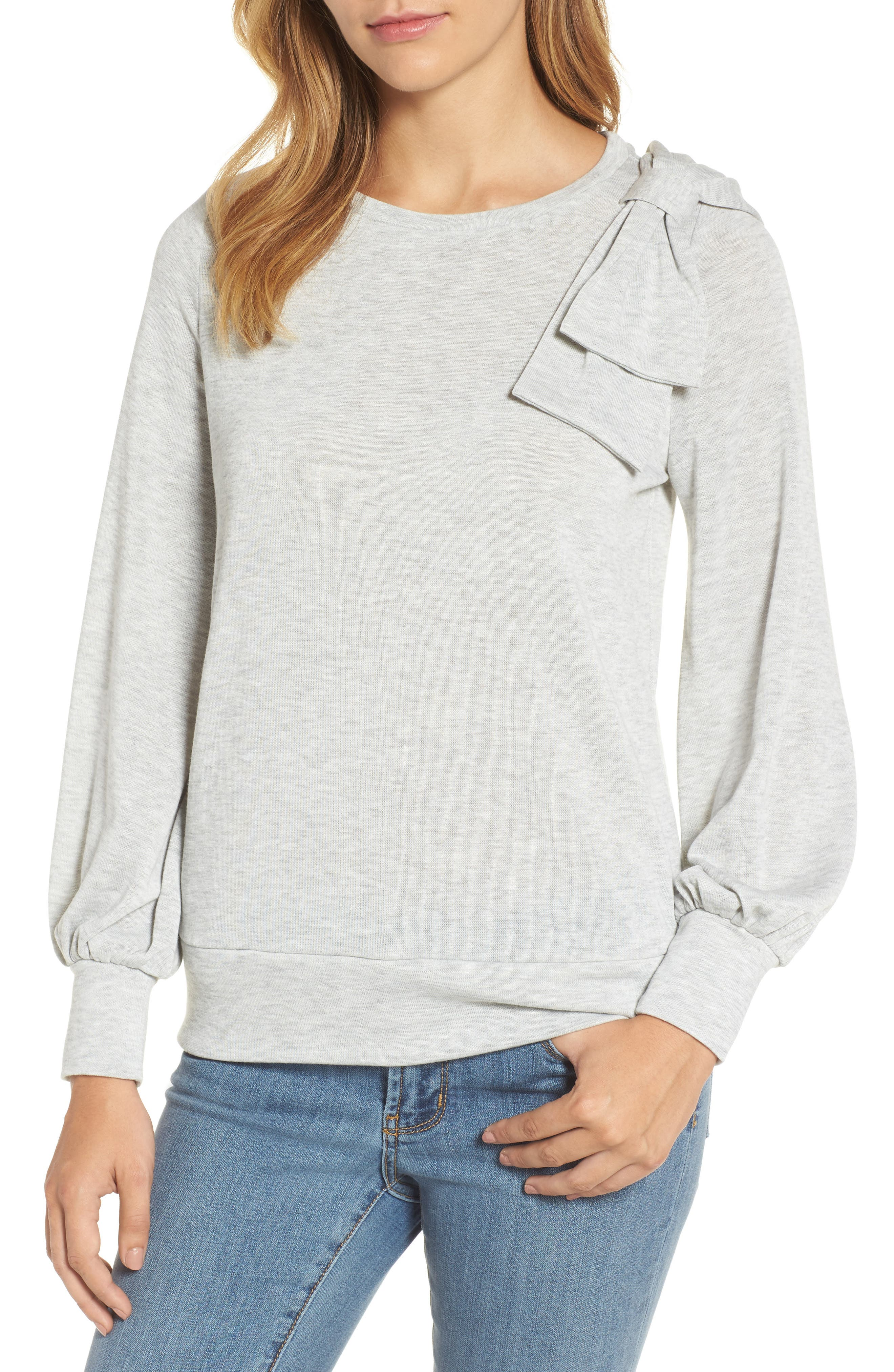 Bow Knit Sweatshirt,                         Main,                         color, Grey Heather