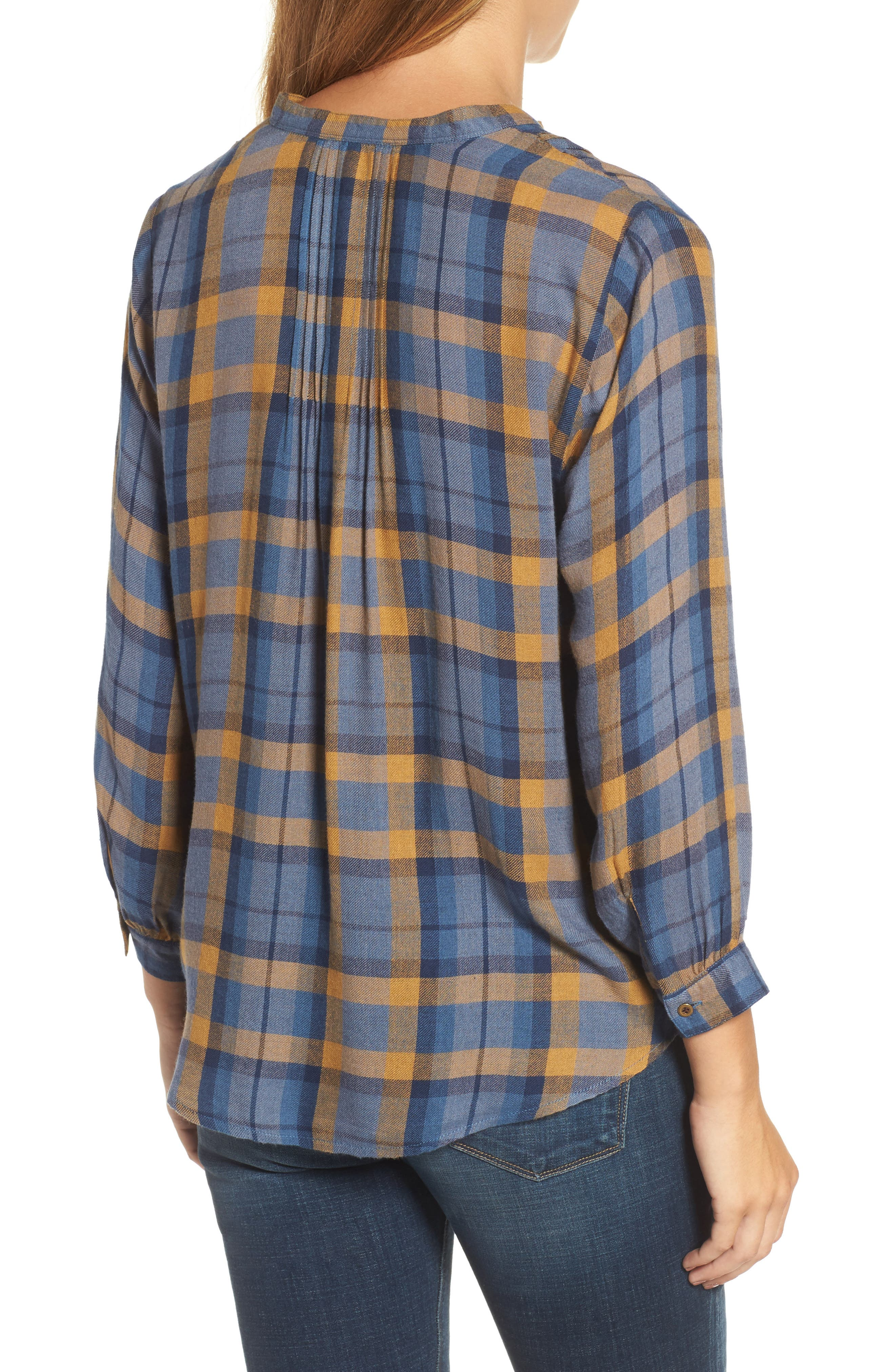 Plaid Top,                             Alternate thumbnail 2, color,                             Blue Multi