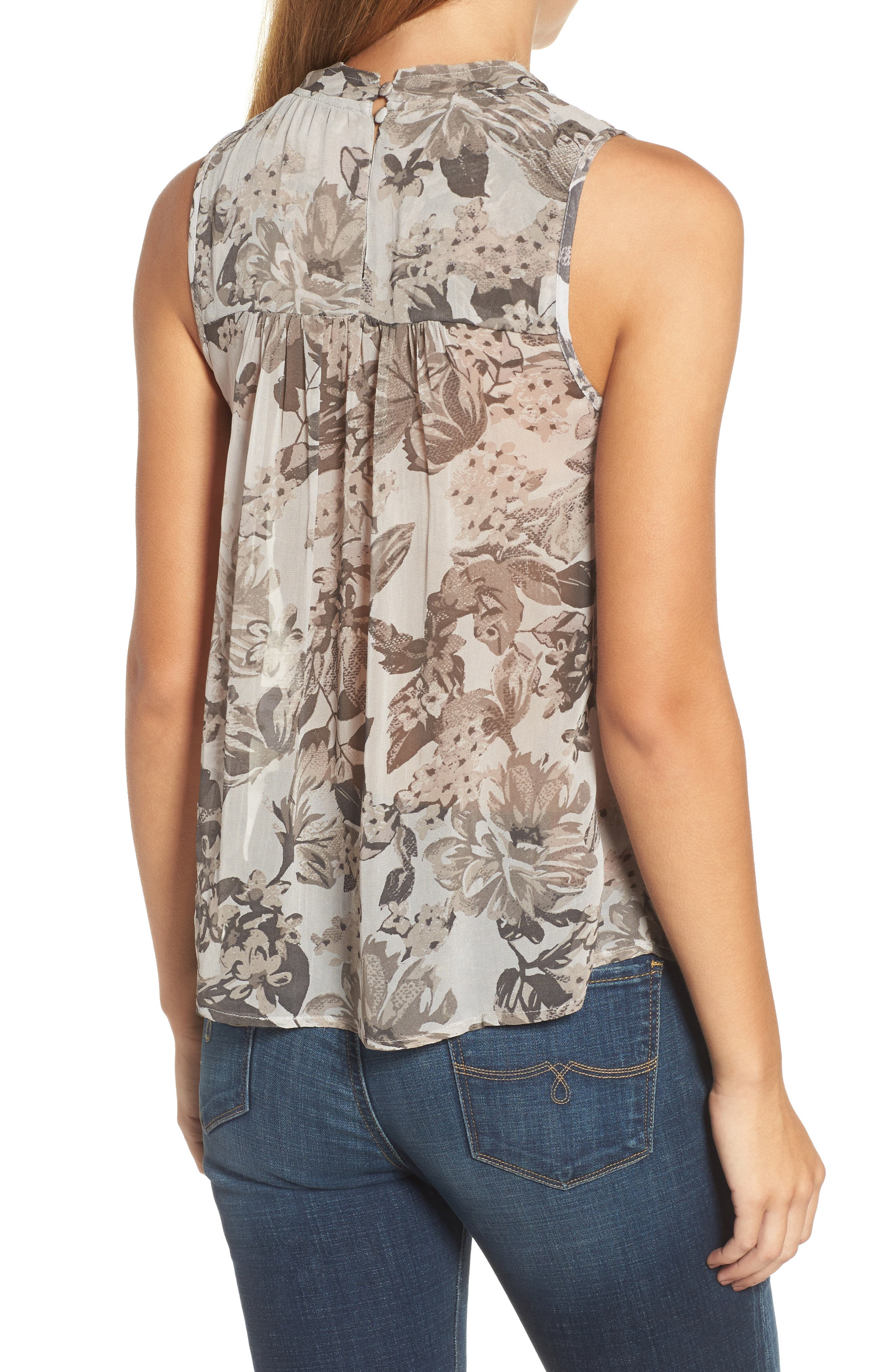 Alternate Image 2  - Lucky Brand Floral Mock Neck Tank Top