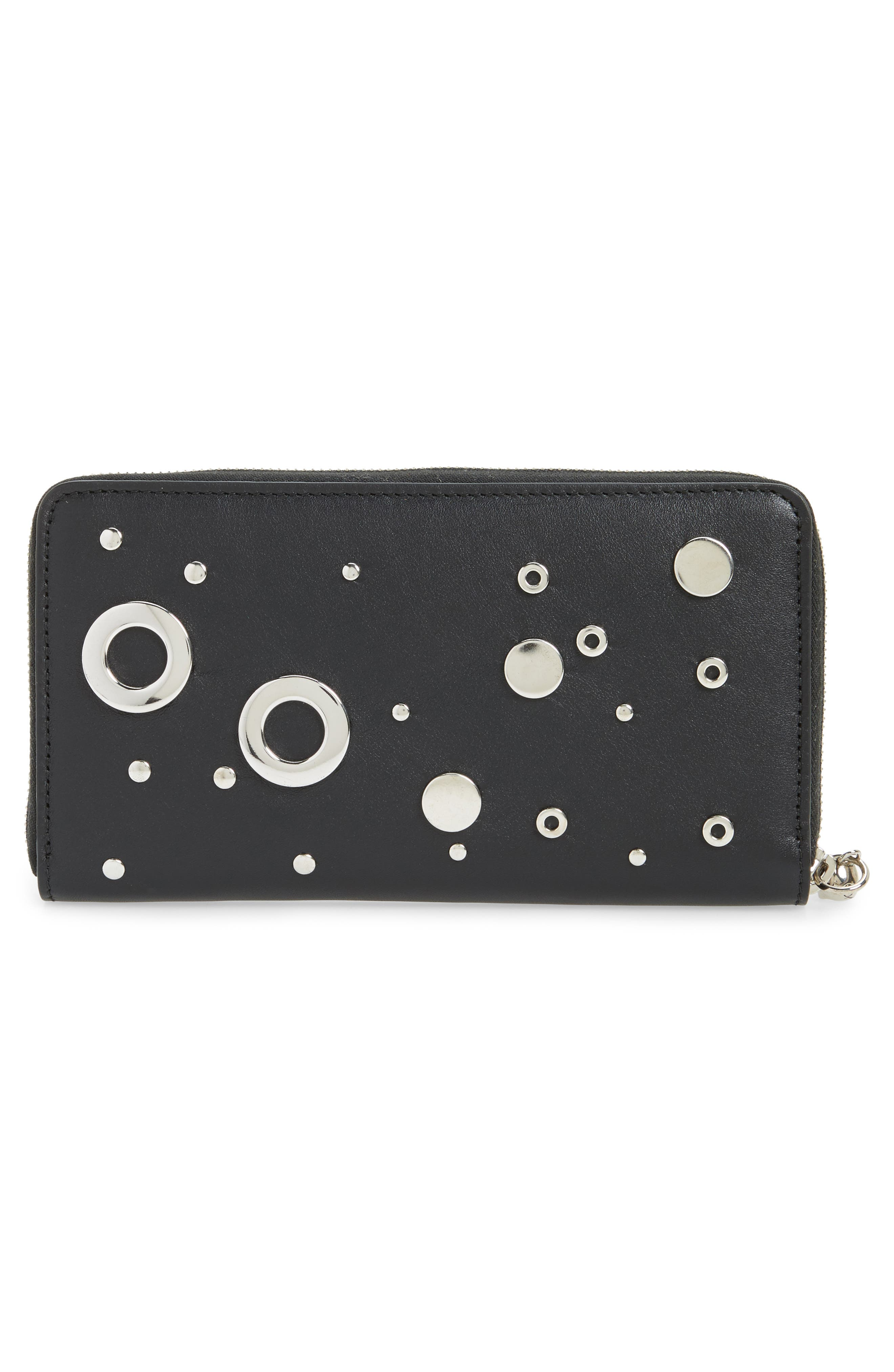 Grommet & Stud Calfskin Leather Continental Wallet,                             Alternate thumbnail 4, color,                             Black