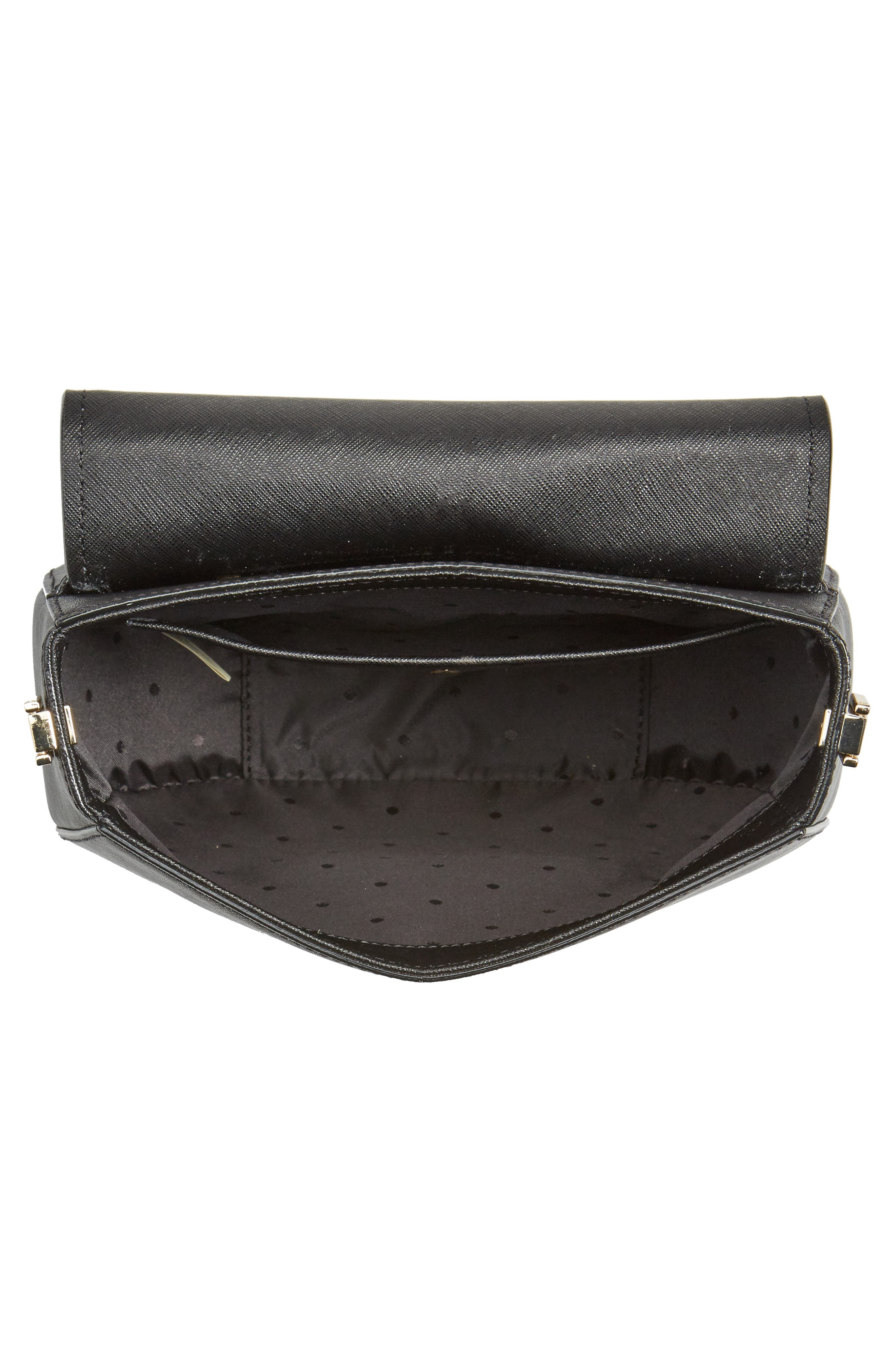make it mine - byrdie leather saddle bag,                             Alternate thumbnail 3, color,                             Black