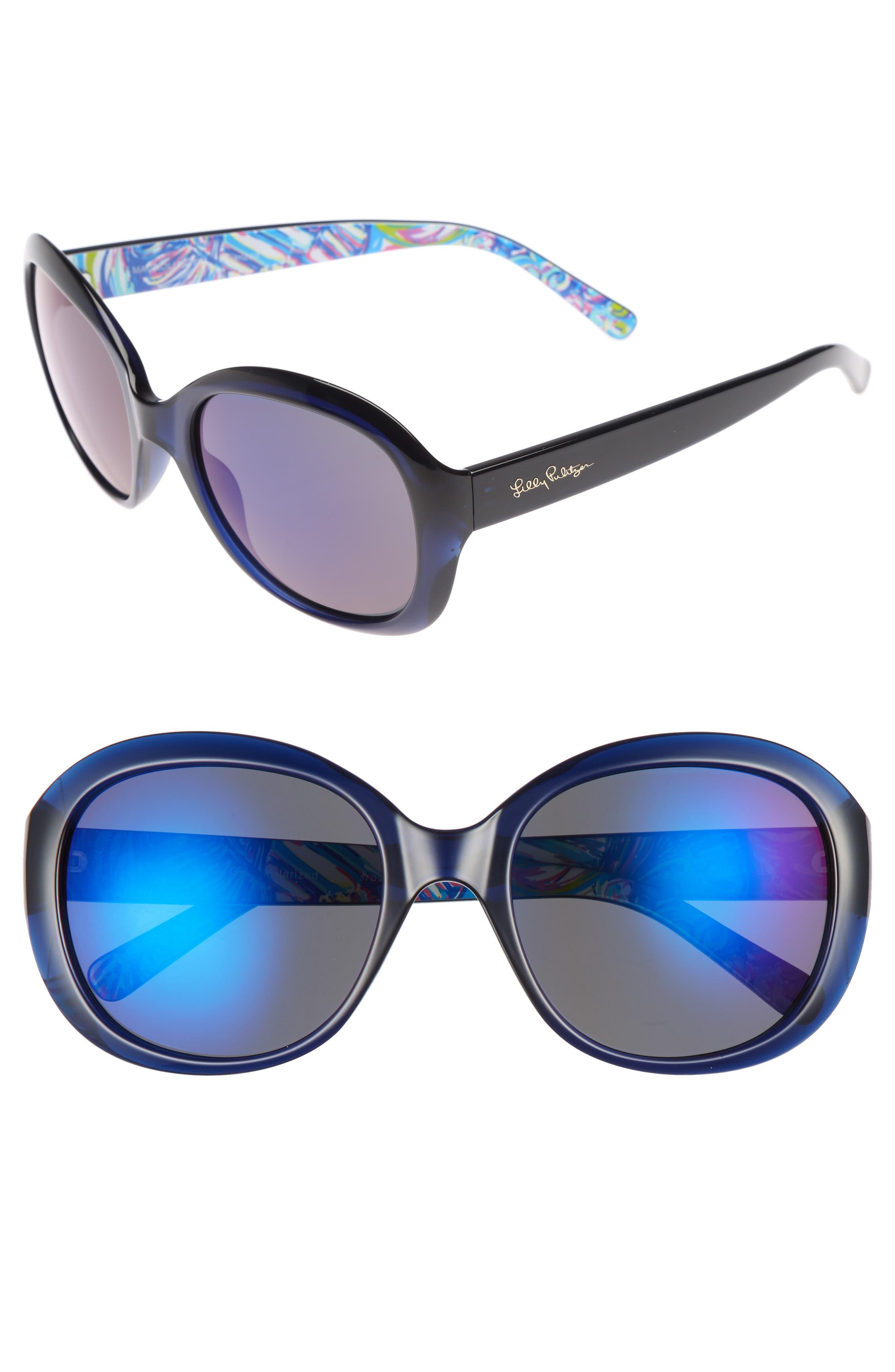 Main Image - Lilly Pulitzer® Magnolia 57mm Polarized Round Sunglasses