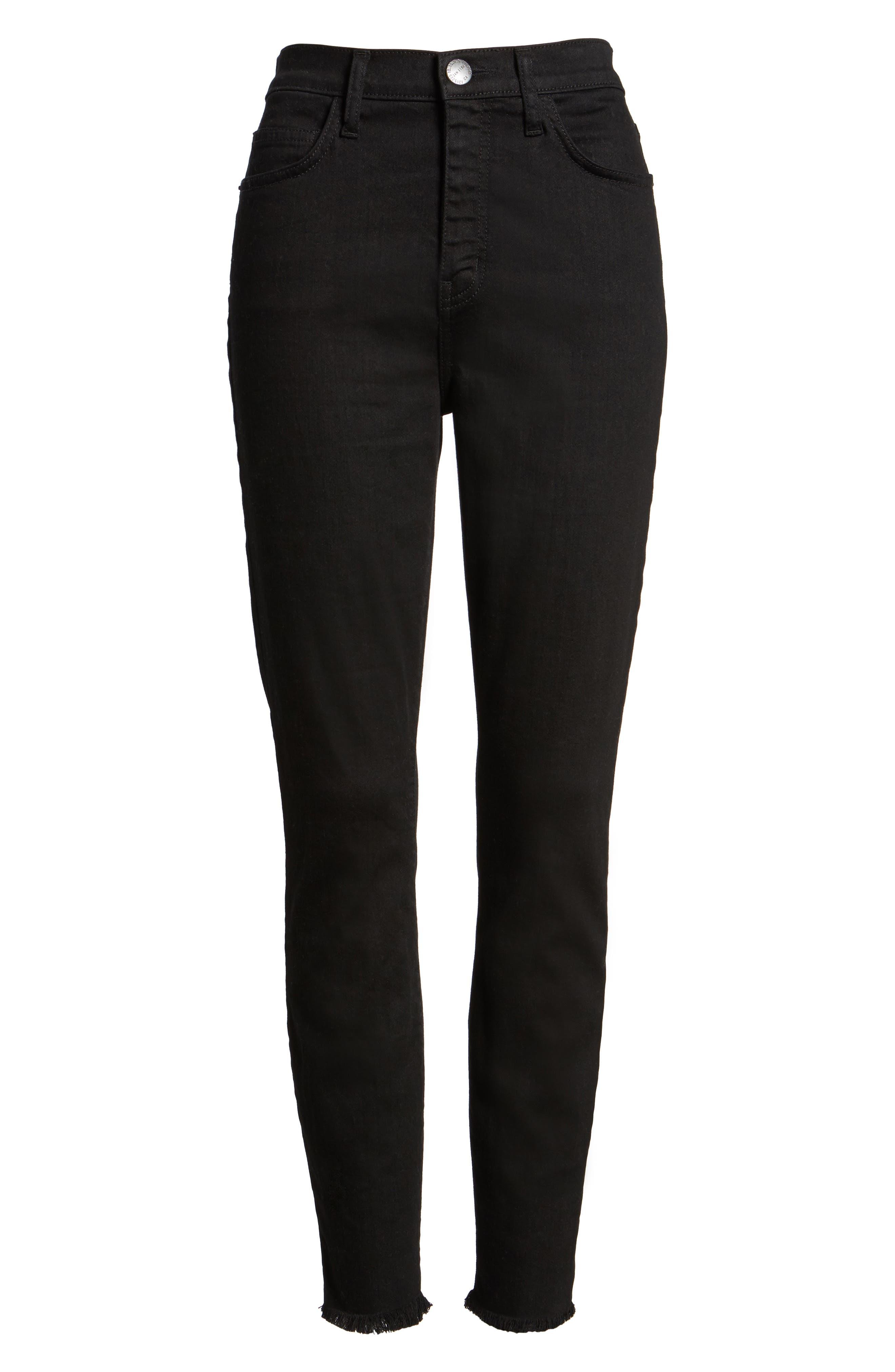 The Super High Waist Stiletto Ankle Skinny Jeans,                             Alternate thumbnail 6, color,                             Jet Black
