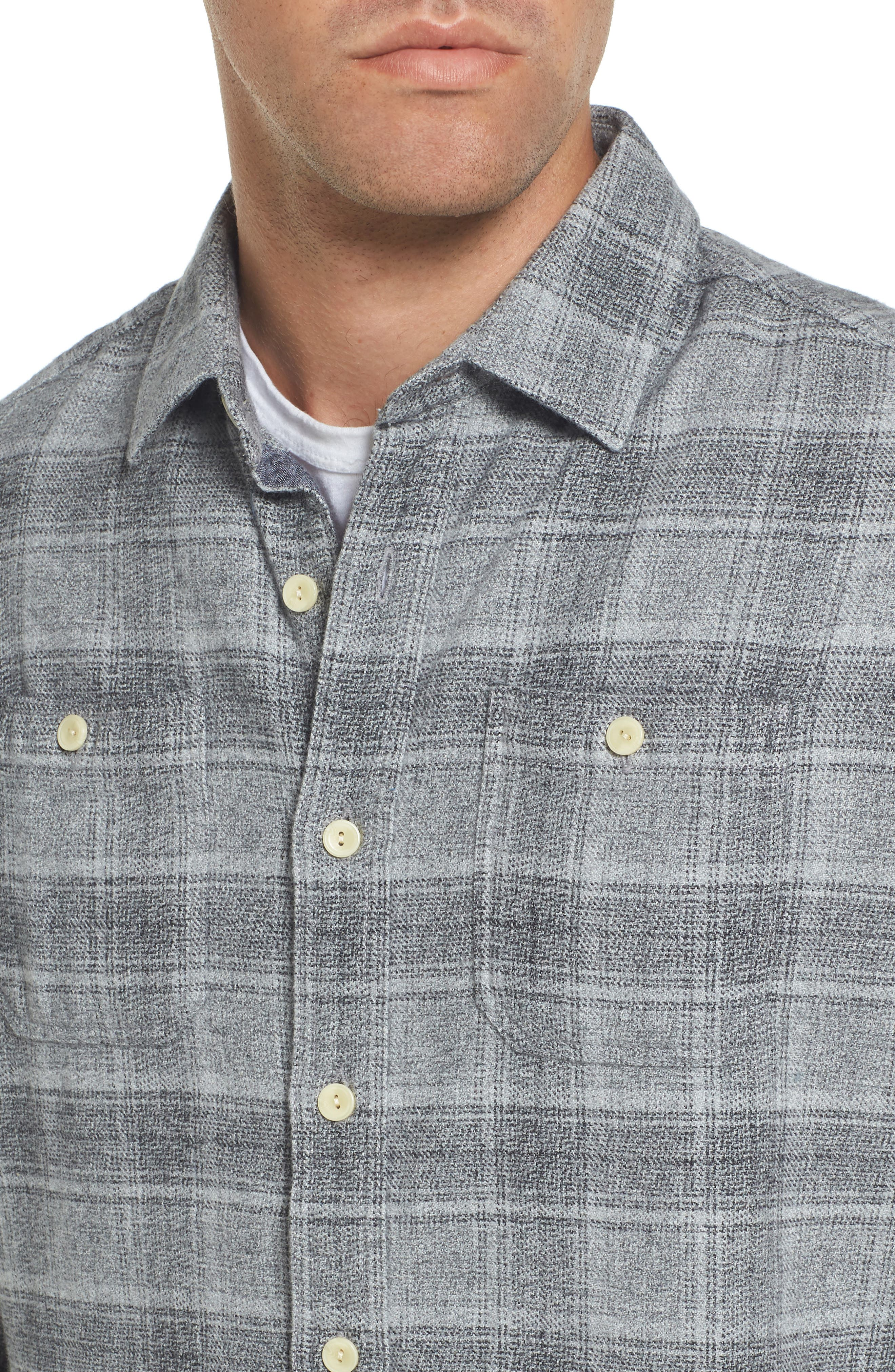 Charles Heritage Modern Fit Flannel Sport Shirt,                             Alternate thumbnail 4, color,                             Gray Charcoal