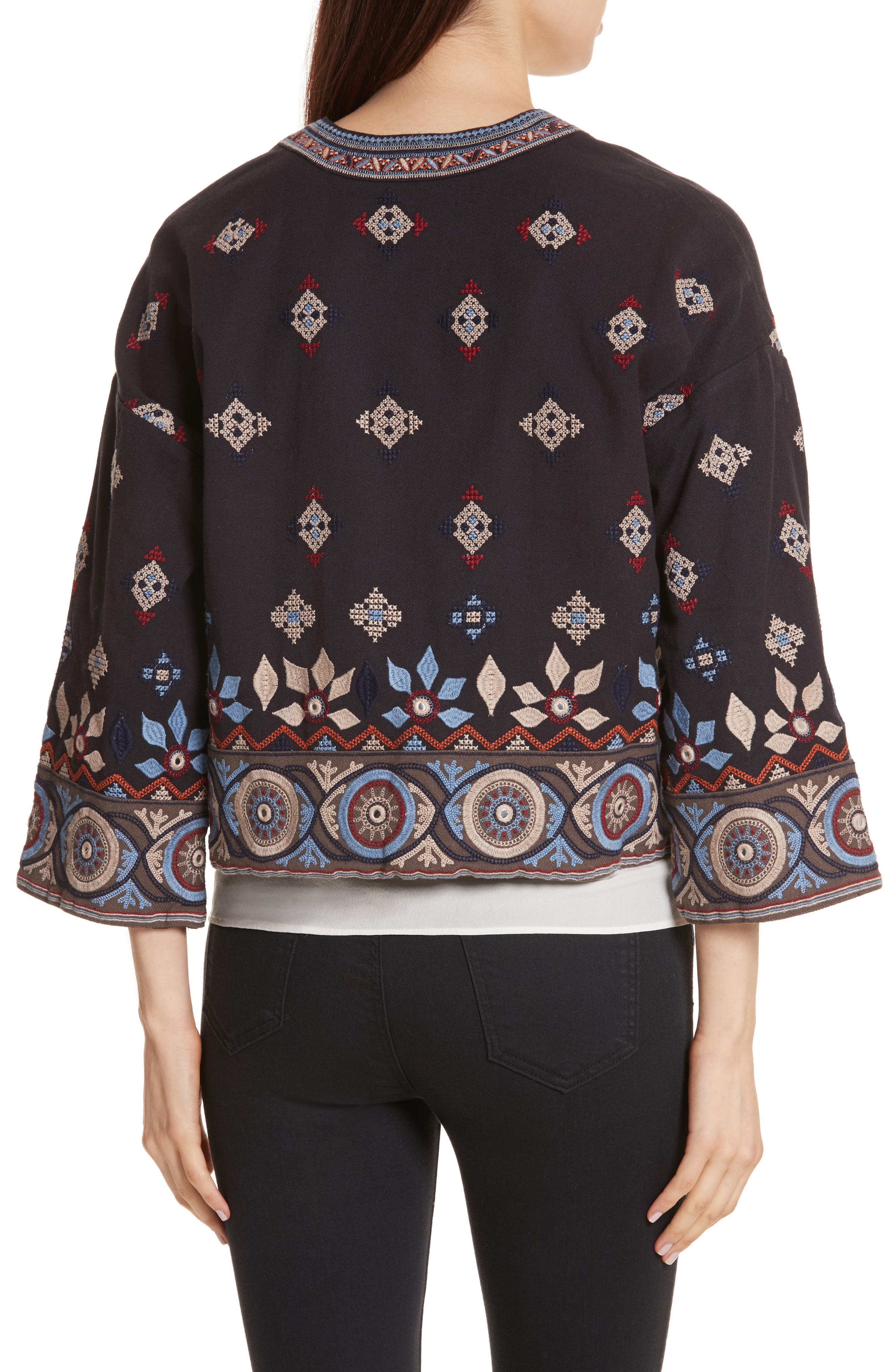 Brianny Embroidered Cardigan,                             Alternate thumbnail 2, color,                             Caviar