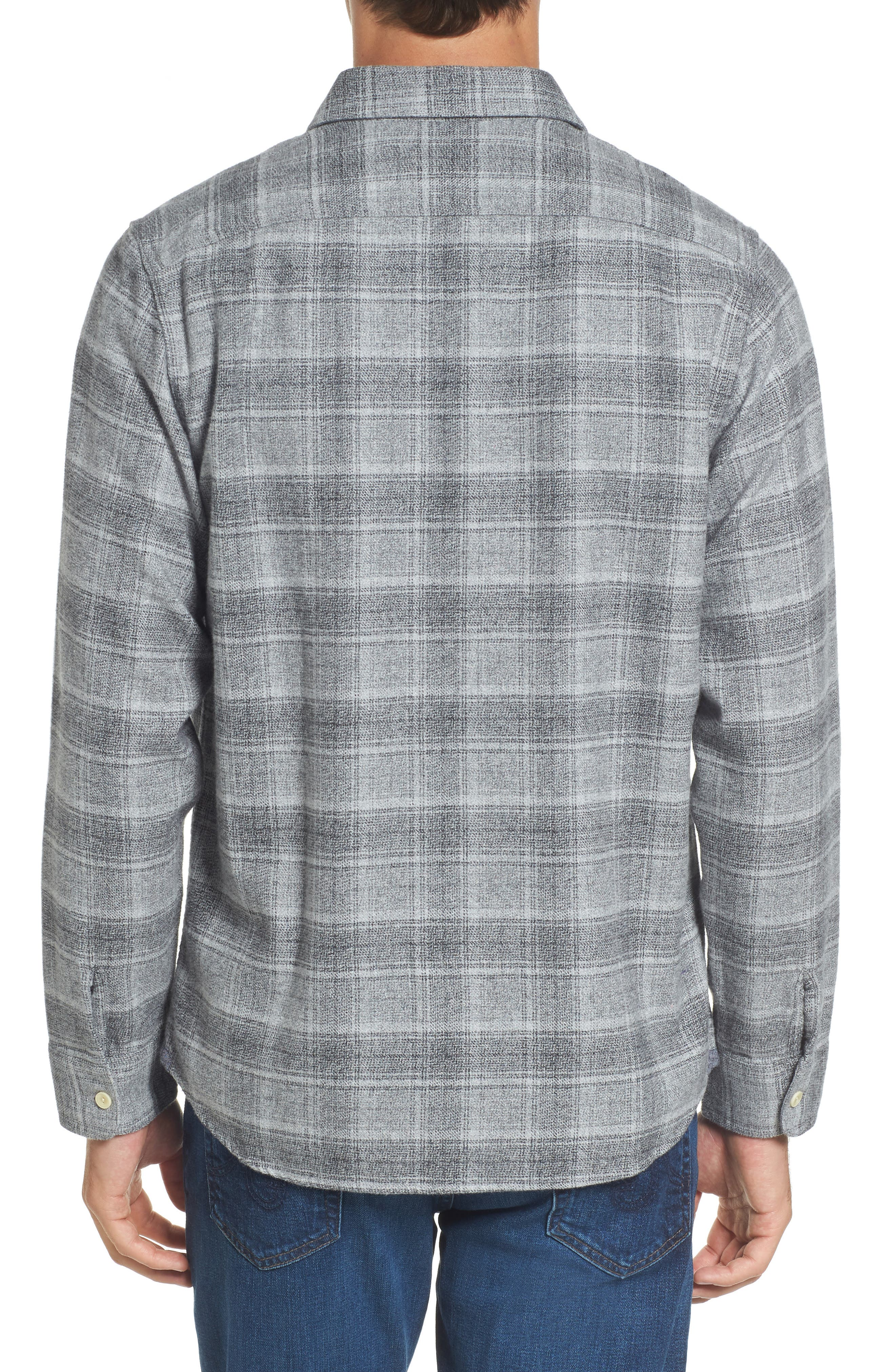 Charles Heritage Modern Fit Flannel Sport Shirt,                             Alternate thumbnail 2, color,                             Gray Charcoal