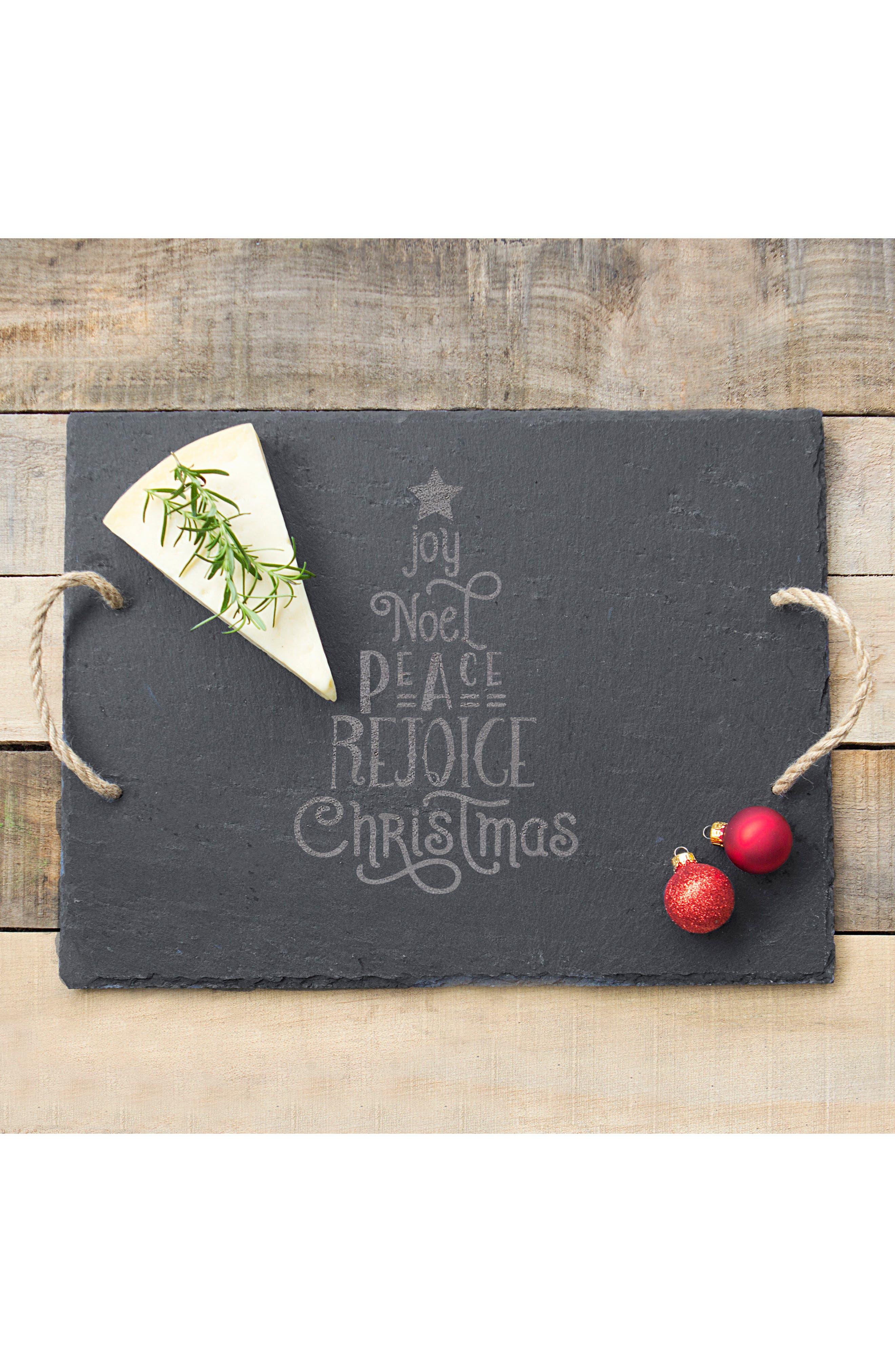 Christmas Tree Slate Serving Board,                             Alternate thumbnail 2, color,                             Black