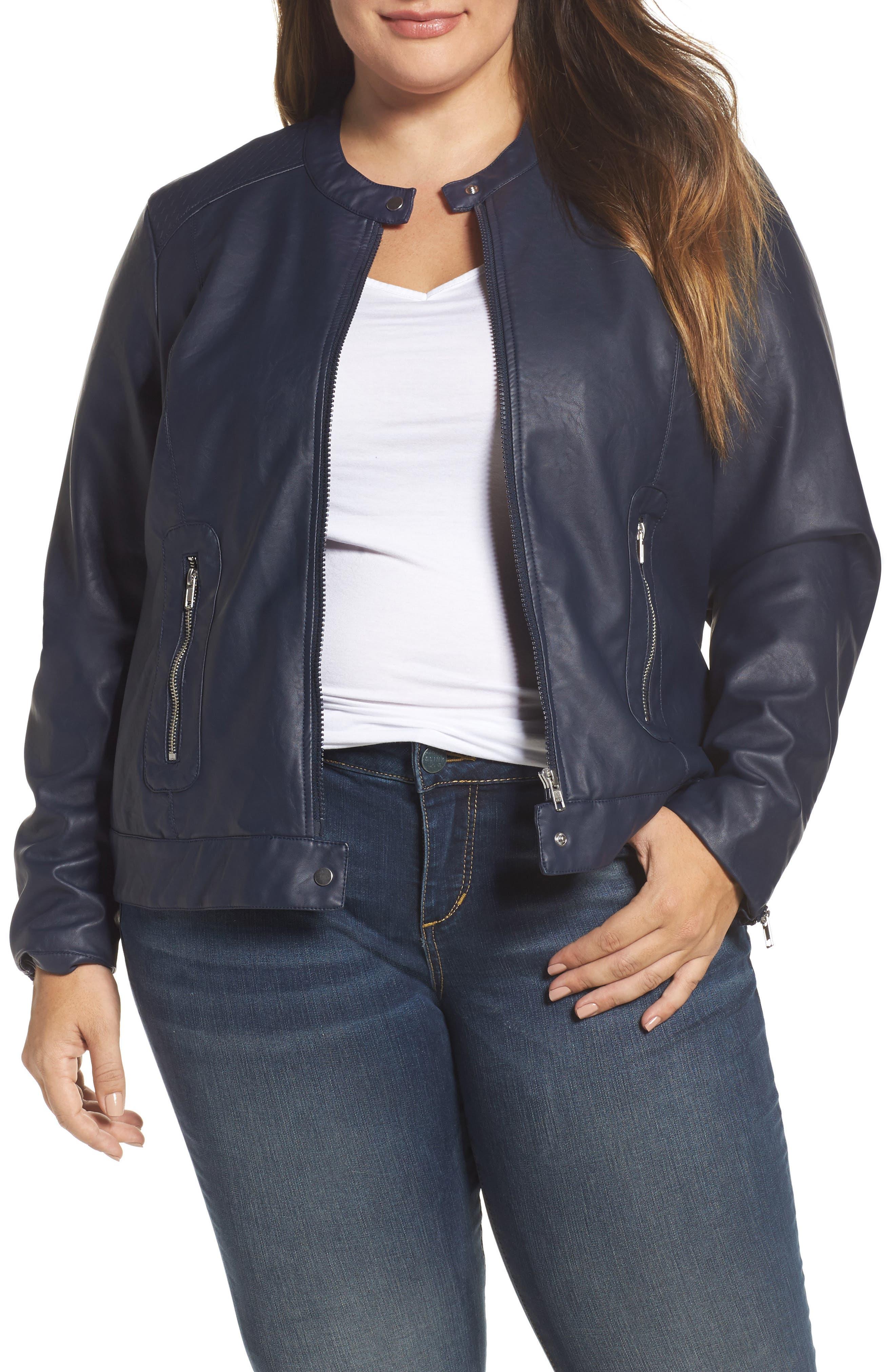 Vava Faux Leather Moto Jacket,                         Main,                         color, Navy Blazer