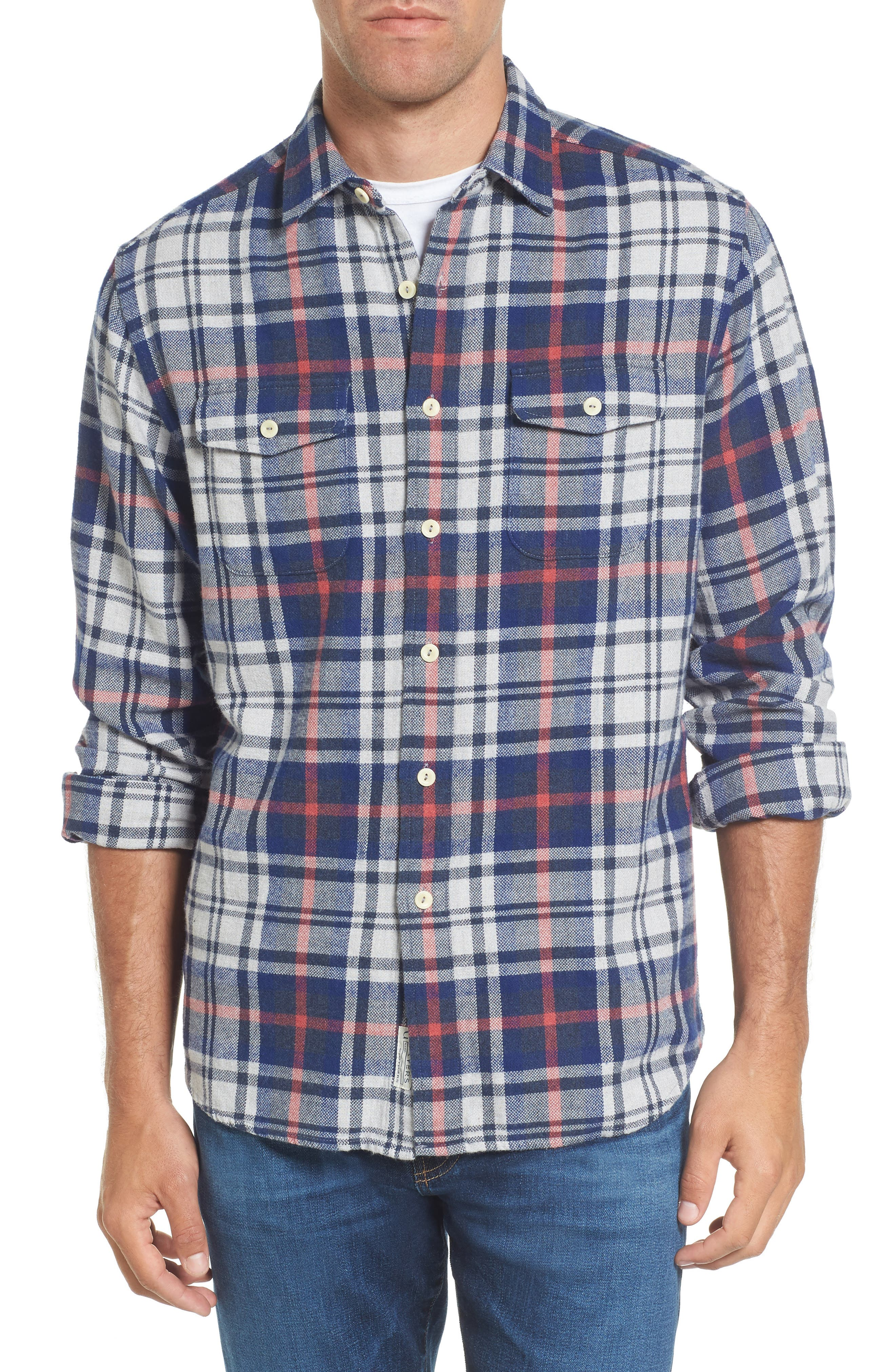 Bisney Modern Fit Texture Flannel Sport Shirt,                         Main,                         color, Stone Royal Red