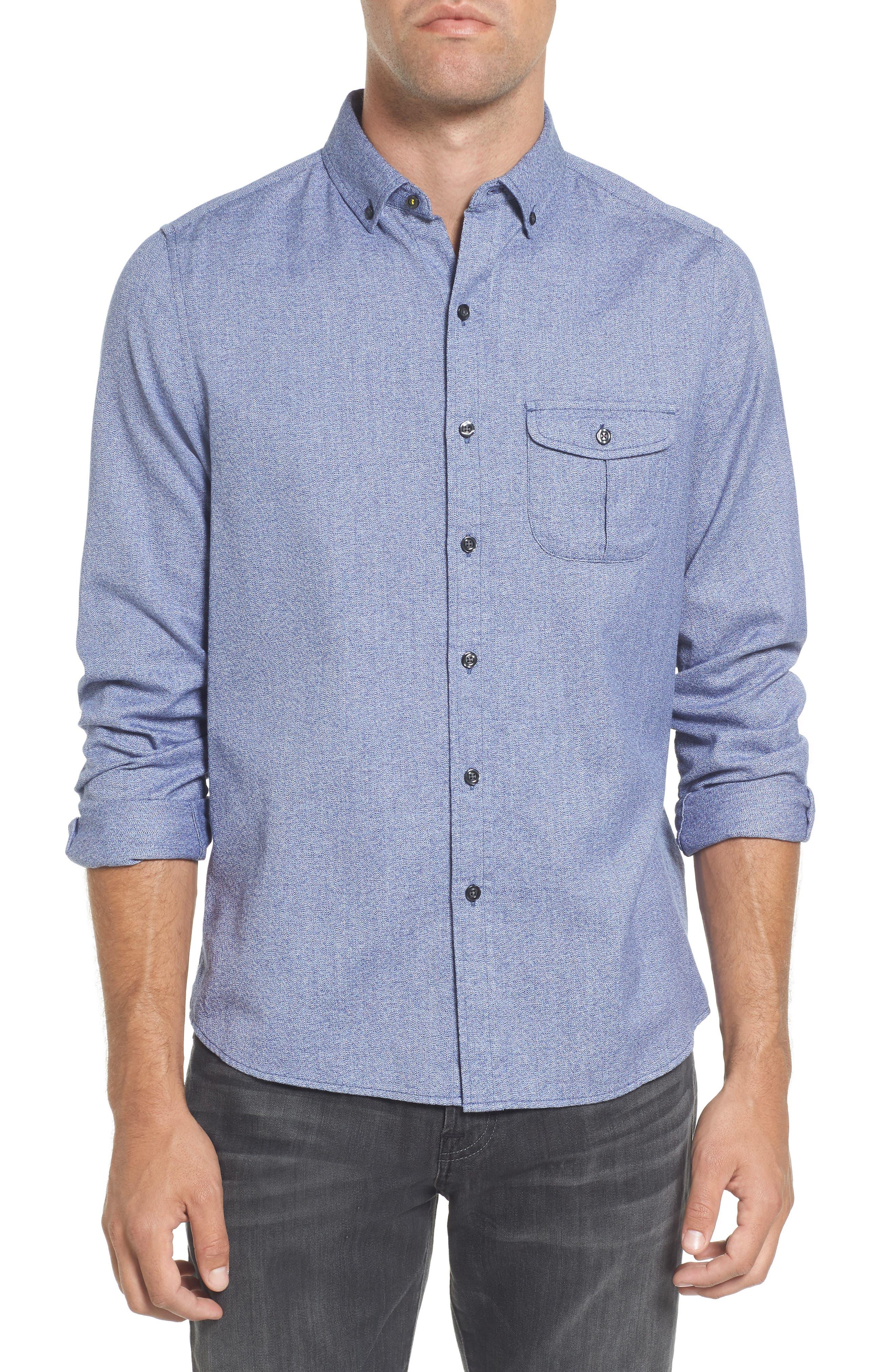Jaspe Trim Fit Heather Sport Shirt,                         Main,                         color, Blue Ink