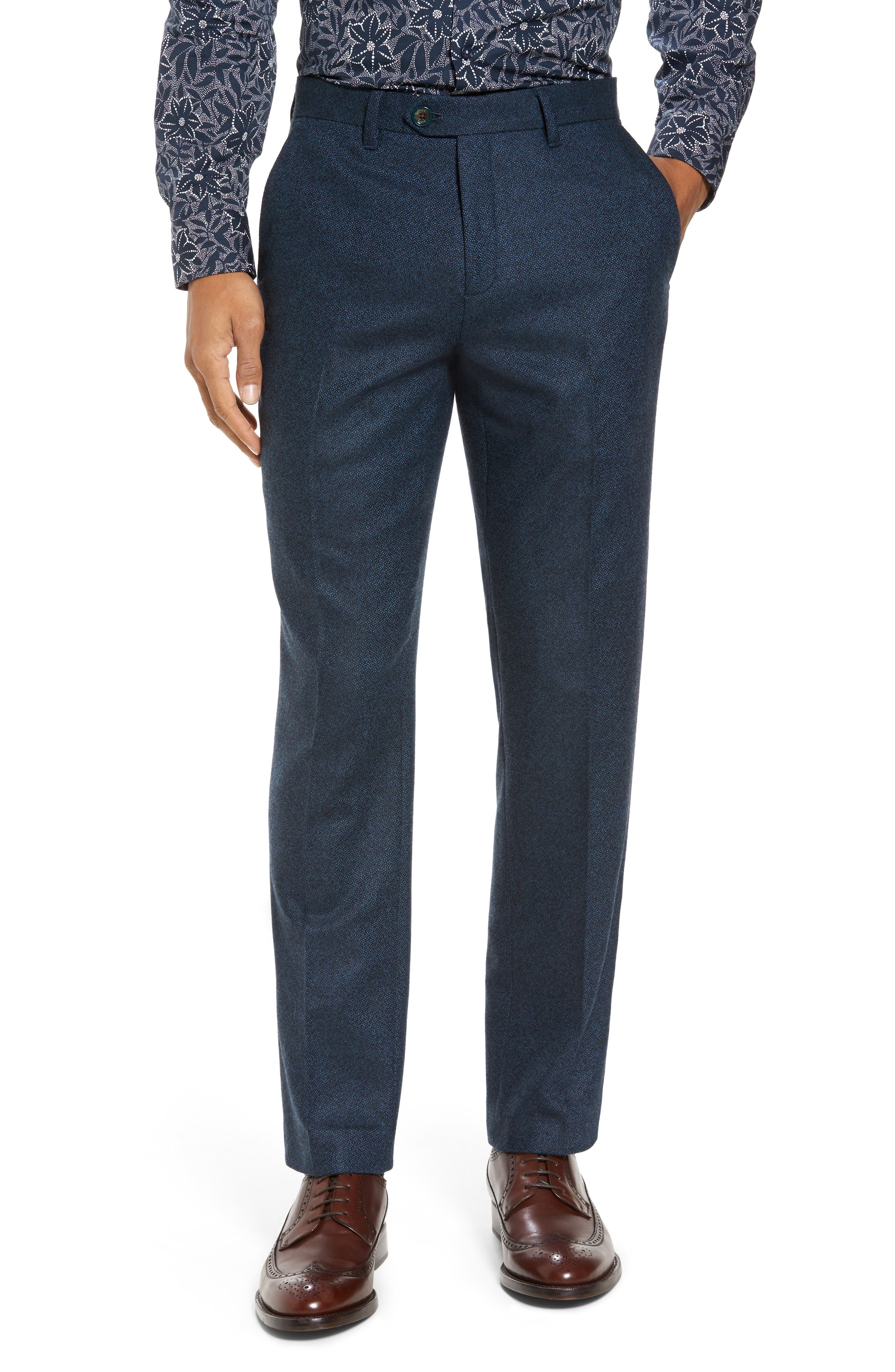 Modern Slim Fit Trousers,                         Main,                         color, Teal Blue